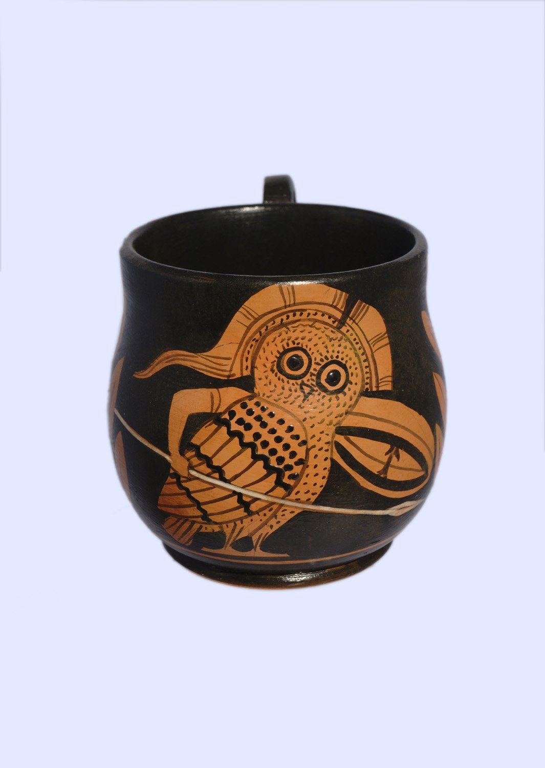 Classical red-figure one-handled skyphos (cup) with an owl, symbol of wisdom