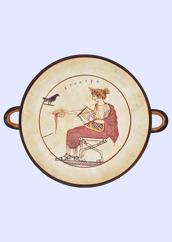 Kylix of Apollo, greek pottery replica