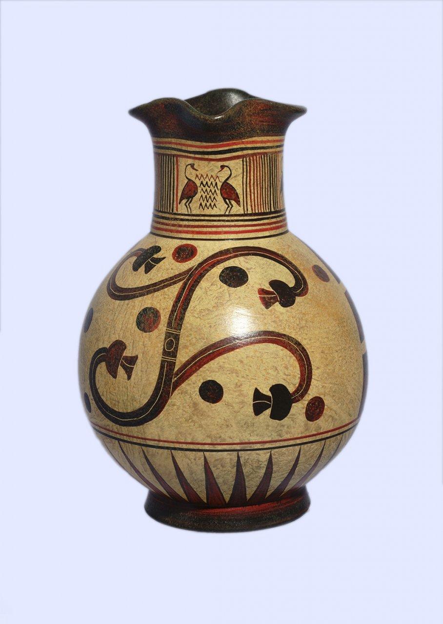 Handmade Minoan jug with geometric and leafy decoration