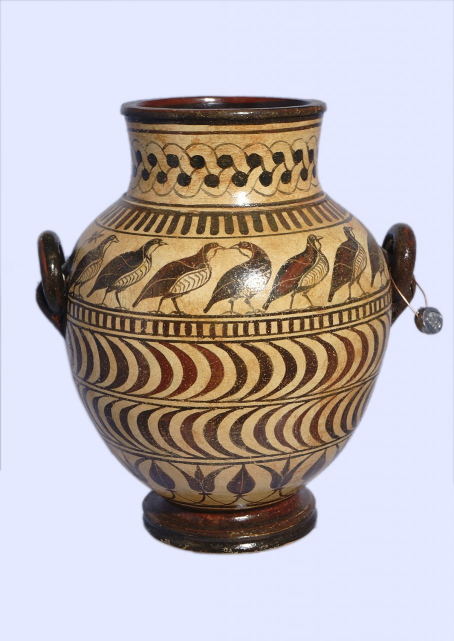 Late minoan jar decorated with birds and geometric motifs