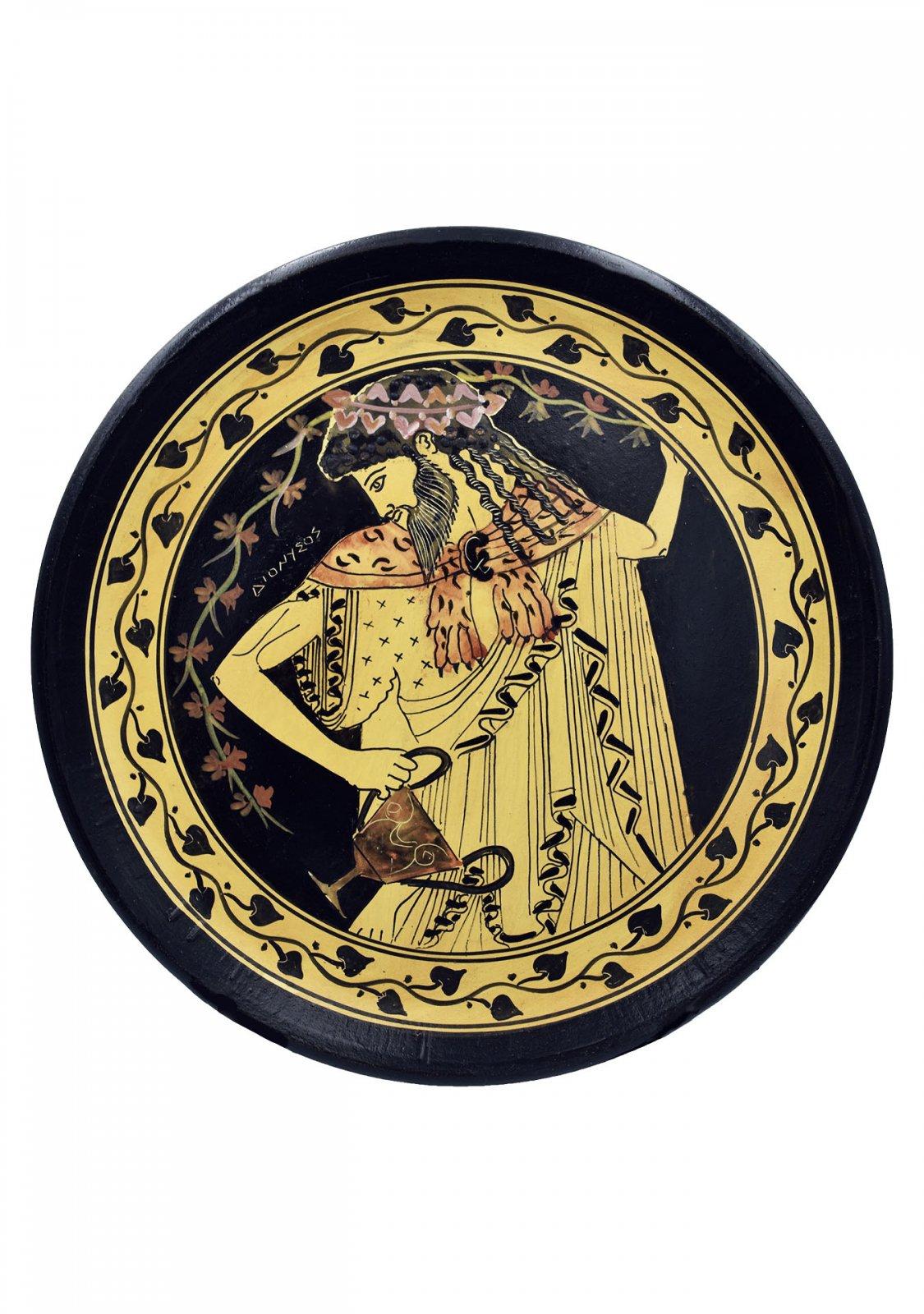 Greek ceramic plate depicting Dionysus (24cm)