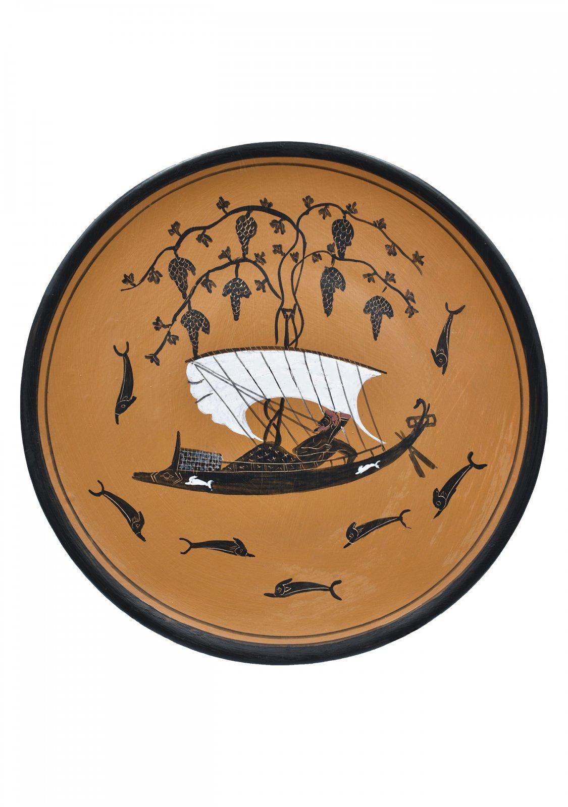 Greek Attic black-figure ceramic plate depicting God Dionysus in a ship (20cm)
