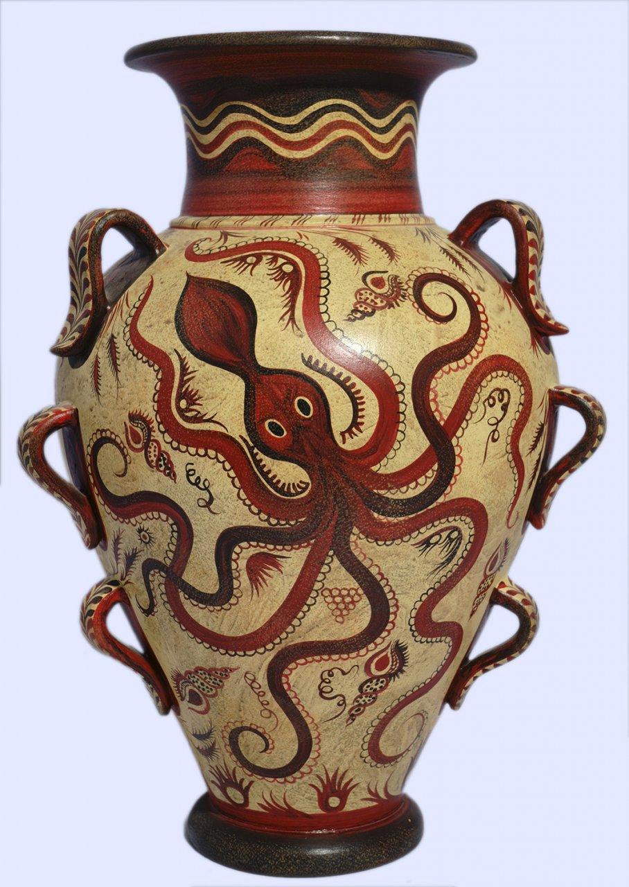 Minoan Greek nine handle amphora with octopus