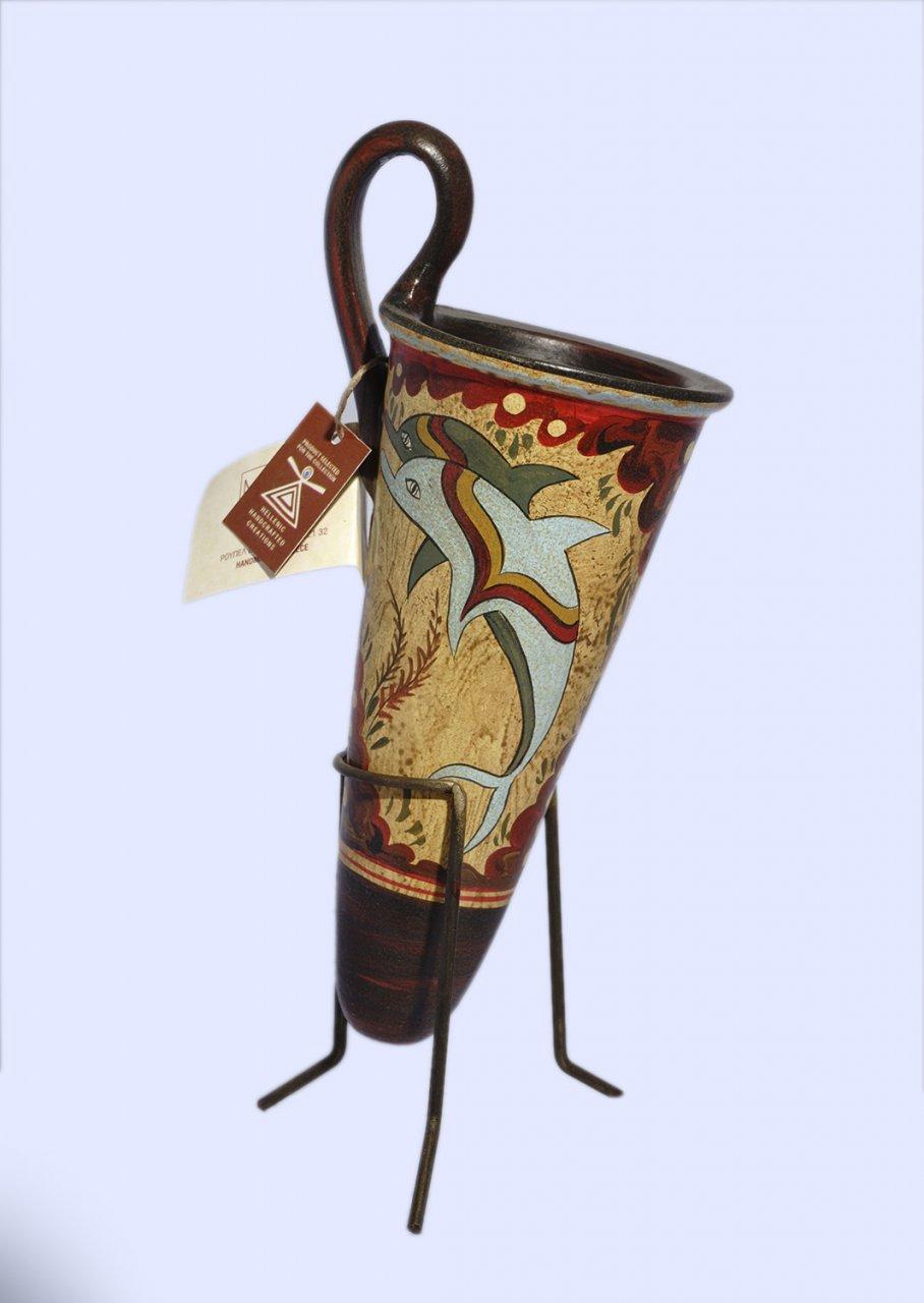 Minoan ceramic rhyton with dolphins