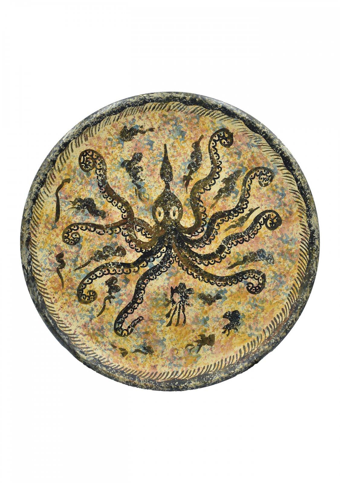 Greek ceramic plate depicting an octopus (14cm)
