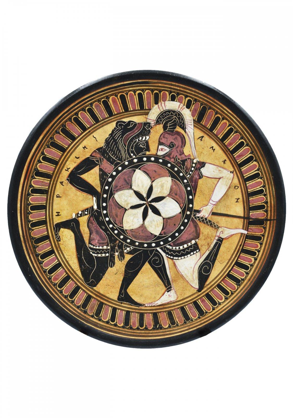 Greek ceramic plate depicting Hercules and Amazon