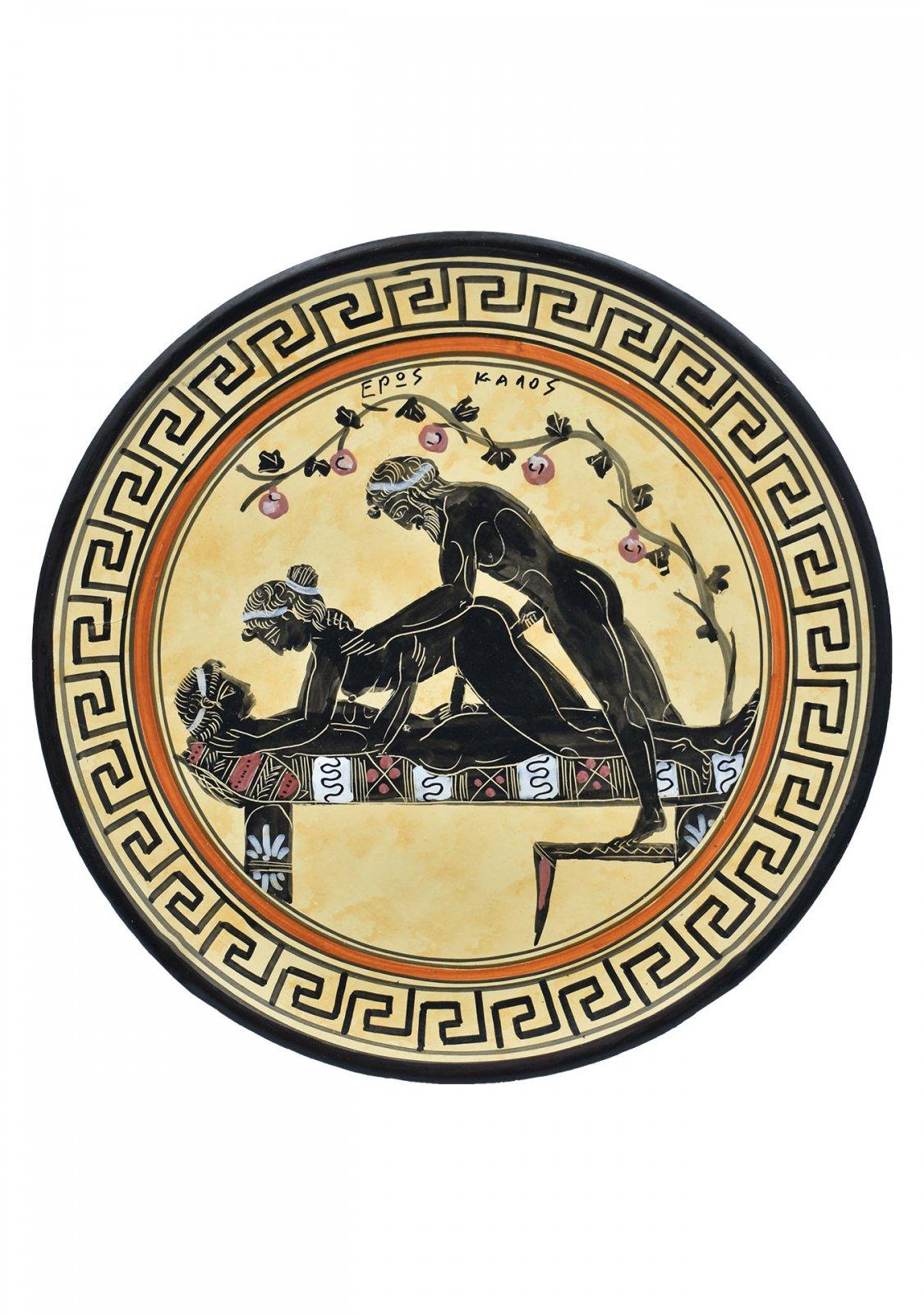 Greek ceramic plate depicting an erotic scene (28cm)
