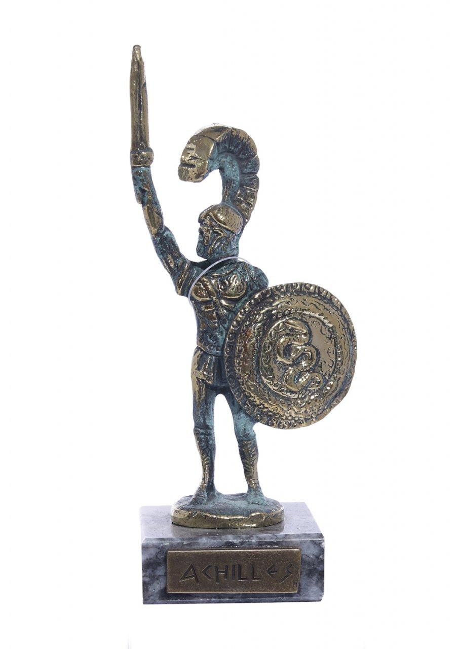 Achilles of Trojan war greek bronze statue on a marble base