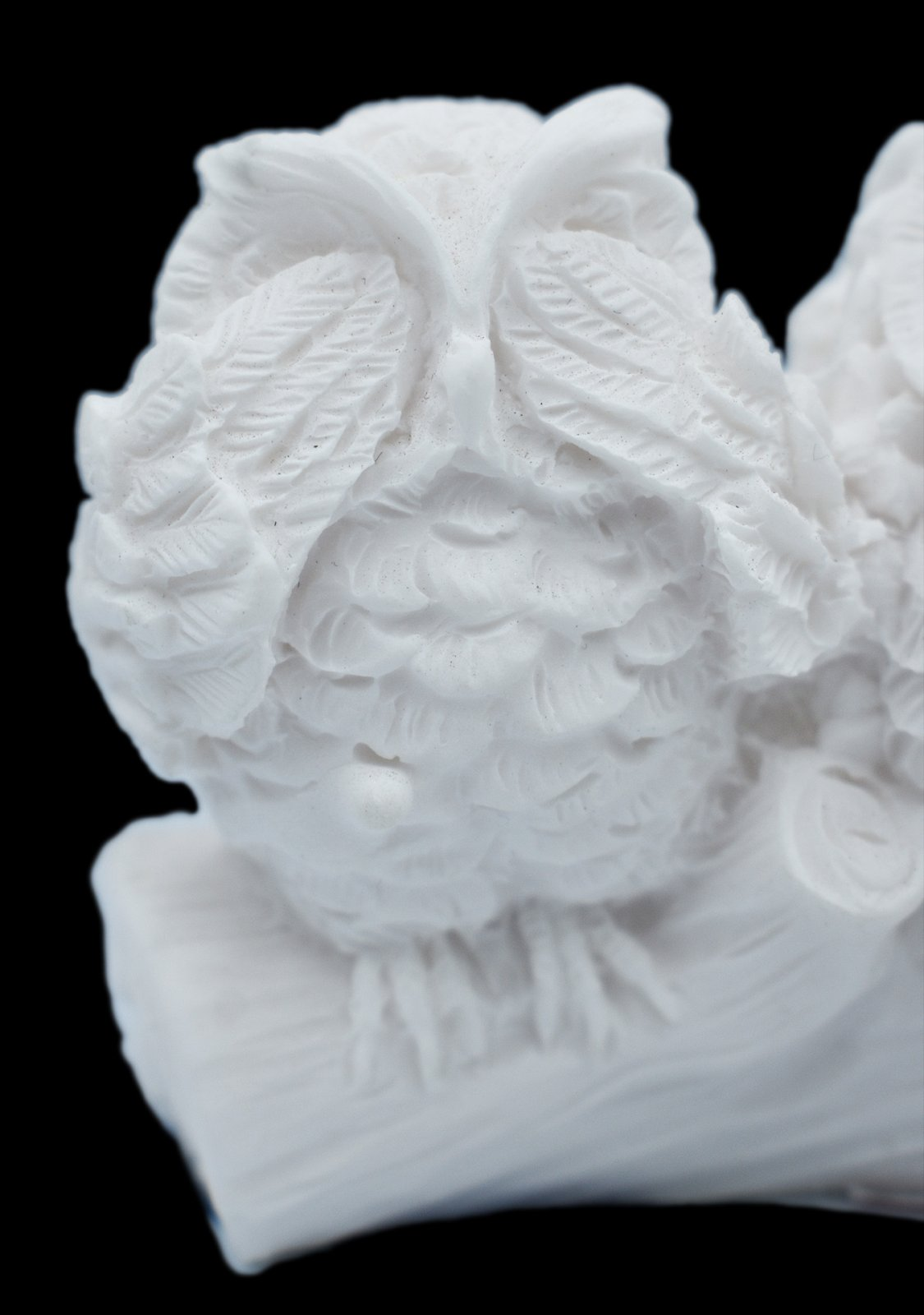 The three wise owls alabaster statue, the symbol of goddess Athena and wisdom