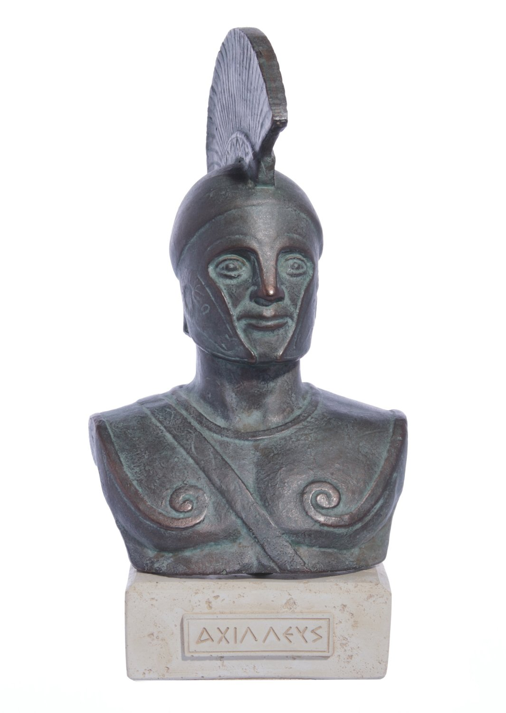 Achilles of Trojan war green plaster bust sculpture