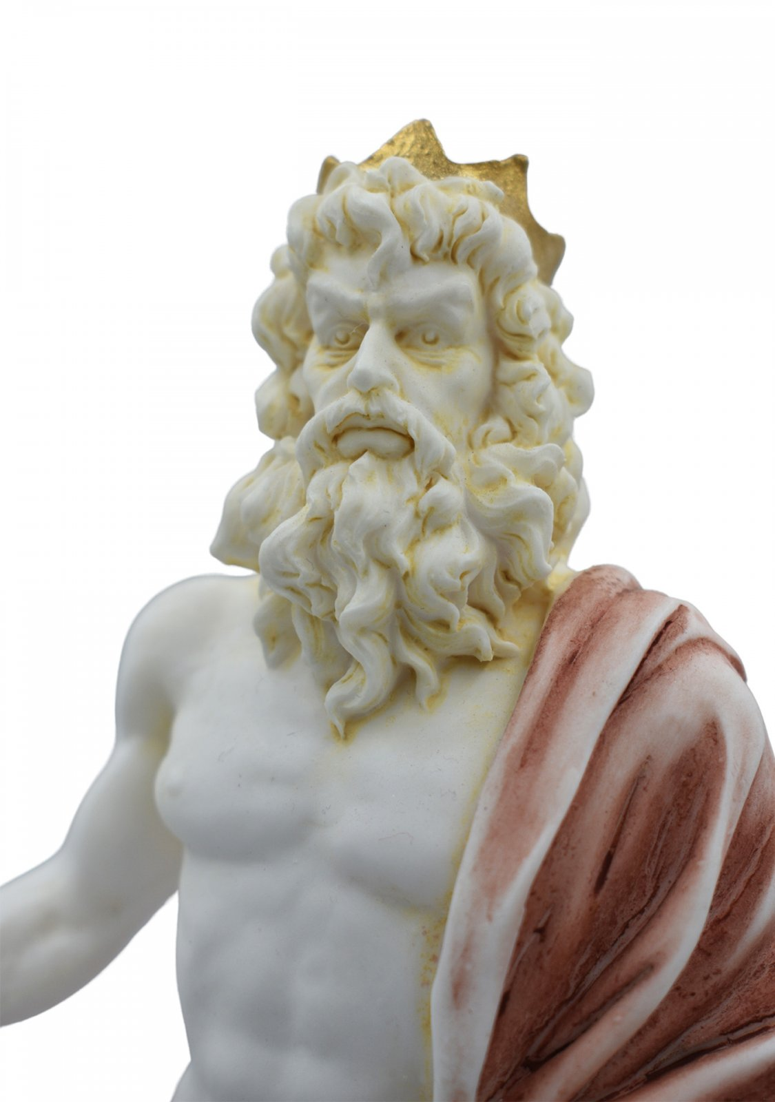 Hades, Pluto, God of the dead and the king of the underworld, greek alabaster statue with color