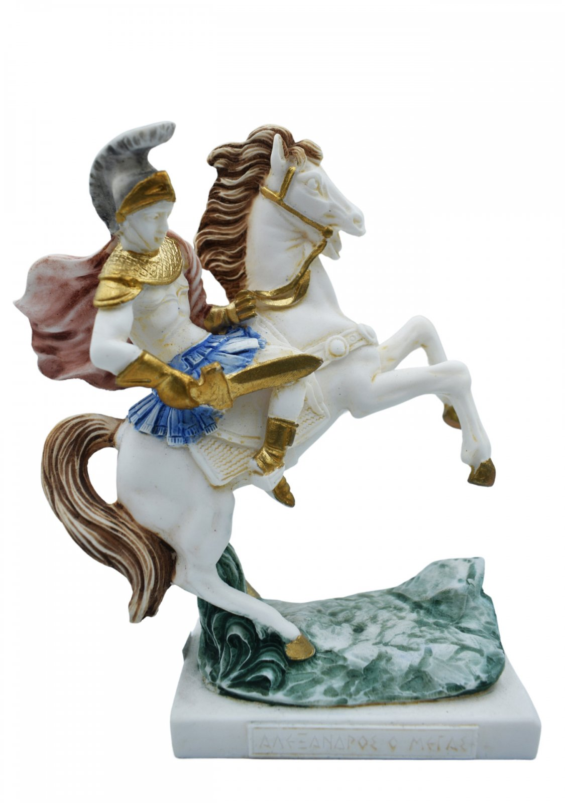 Alexander The Great riding Bucephalus, alabaster statue with color