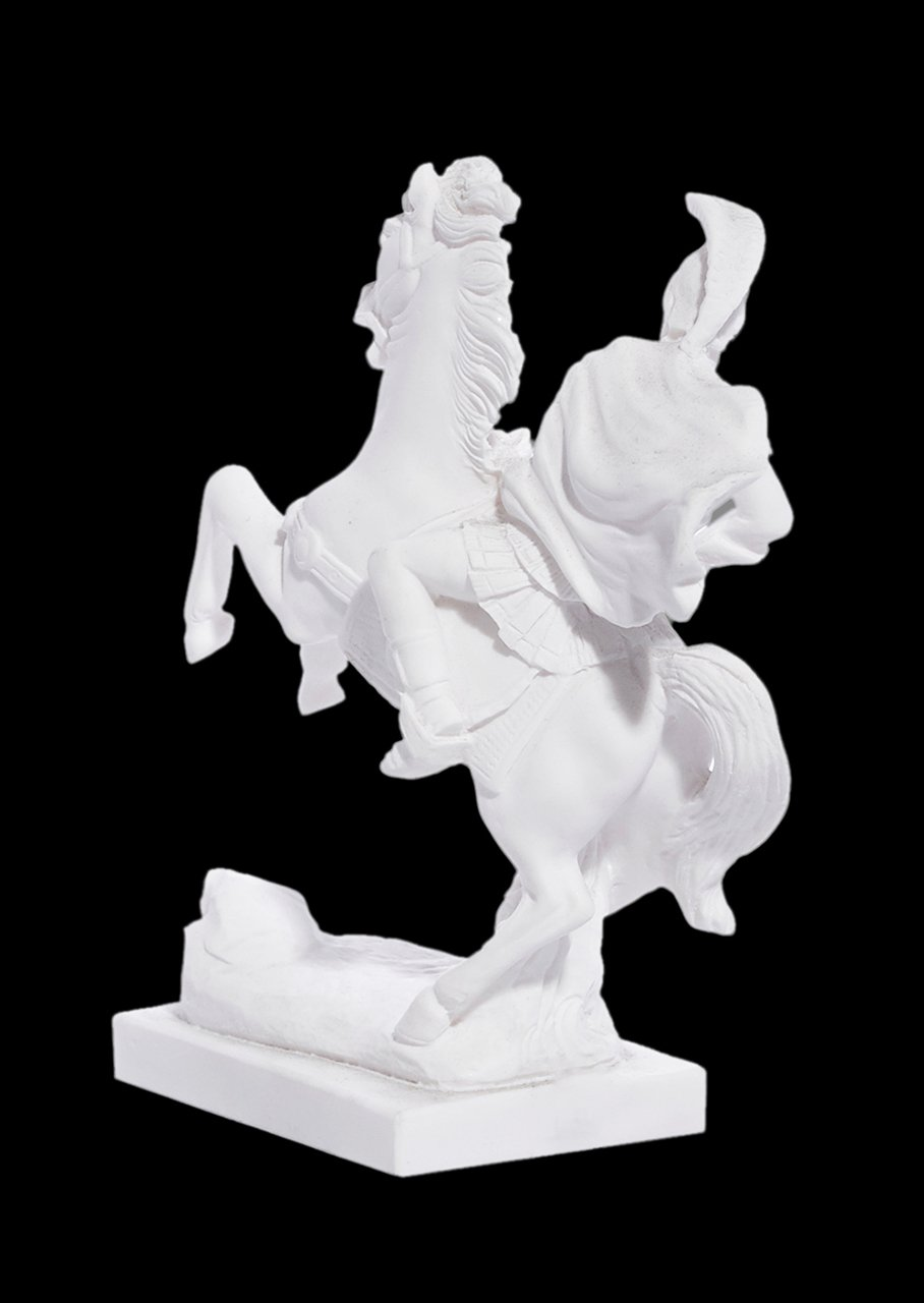 Alexander The Great riding Bucephalus, alabaster statue