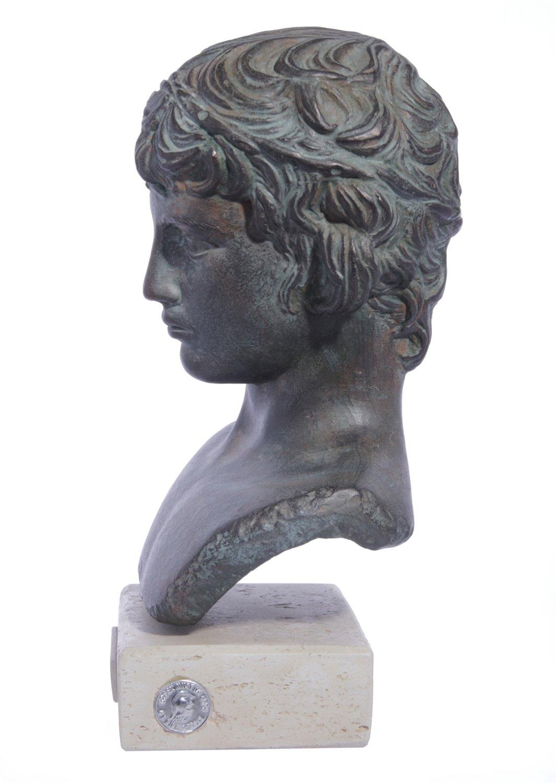 Antinoos (Antinous) greek plaster green bust statue