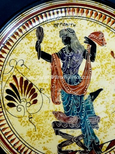 Aphrodite with mirror greek ceramic plate Greek pottery Free designed pottery