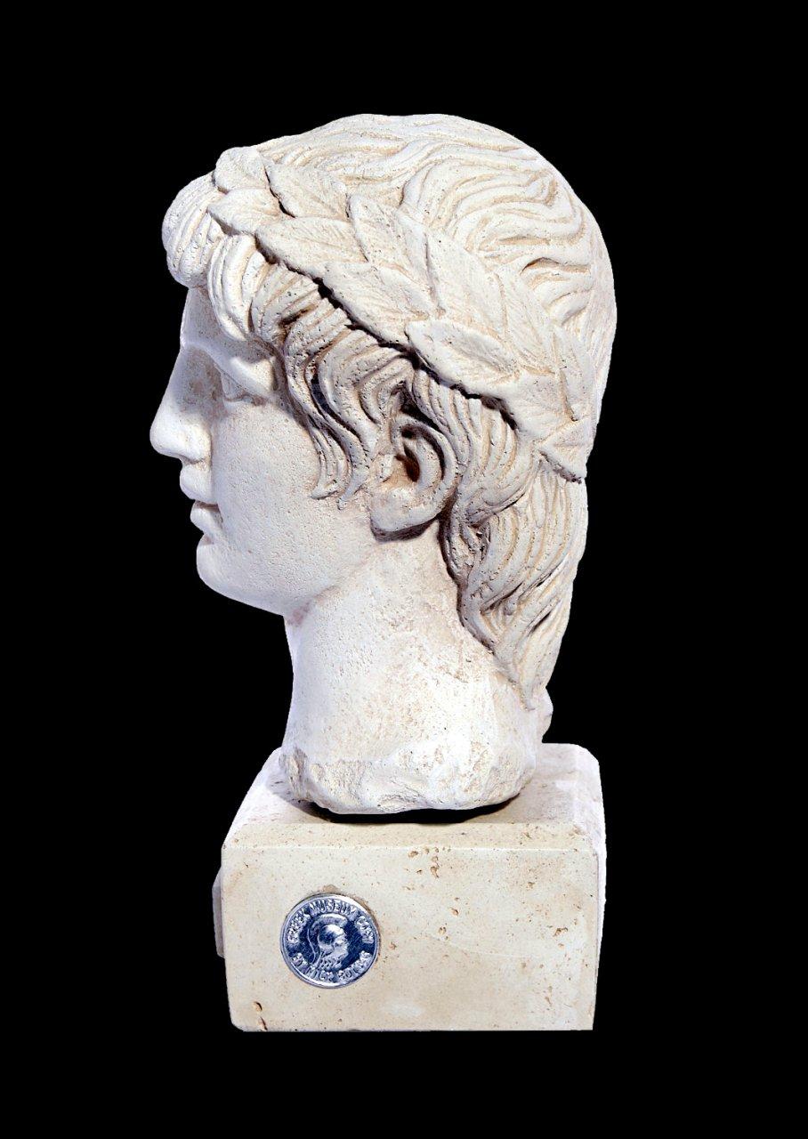 Greek plaster bust statue of Apollo