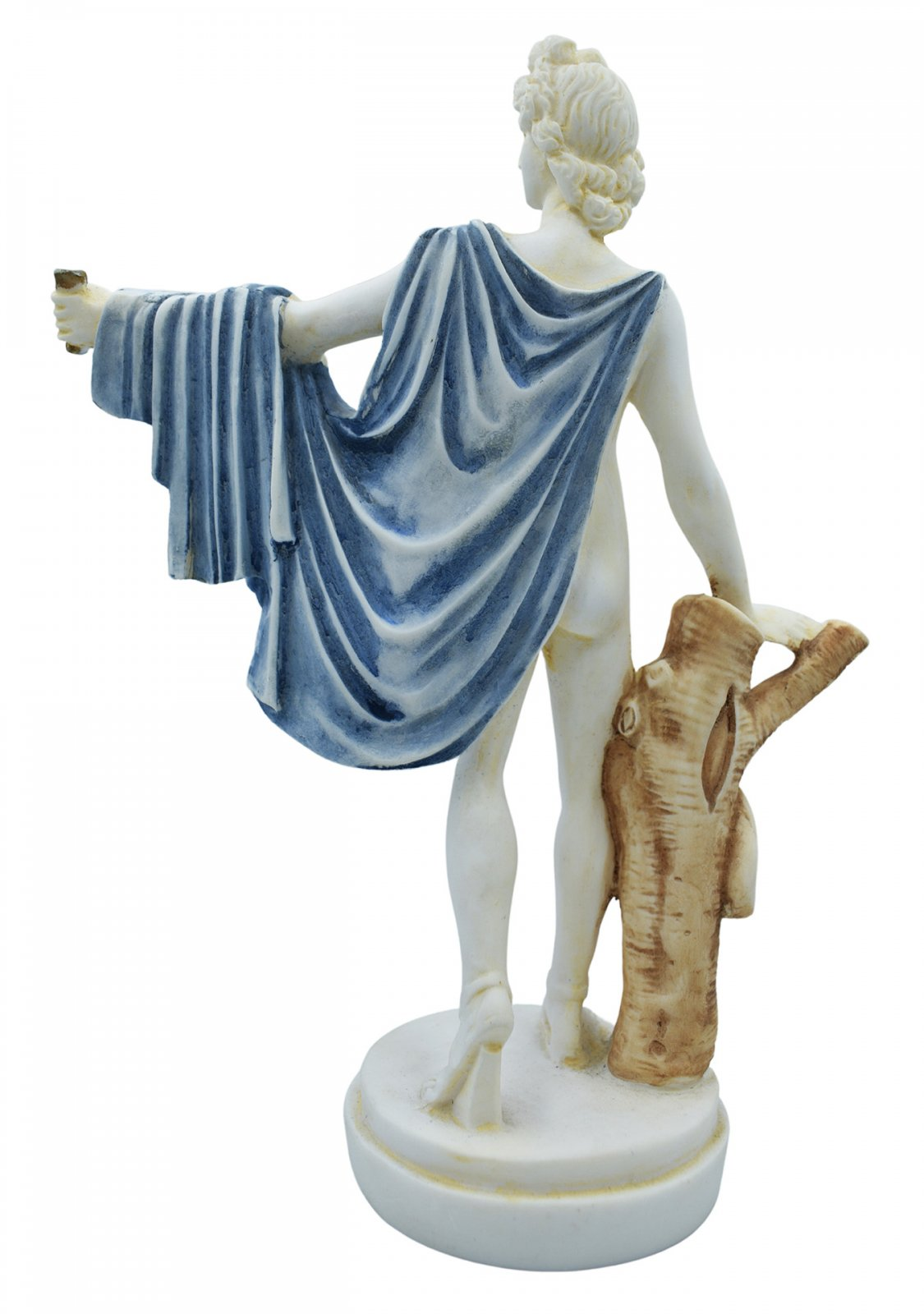 Apollo greek alabaster statue with color and patina