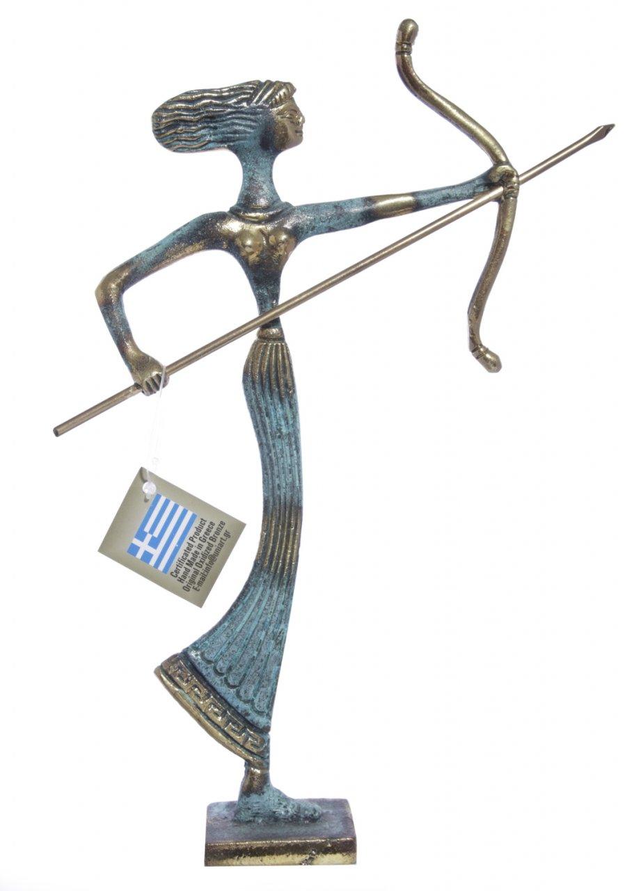 Medium bronze statue of Goddess Artemis holding her bow and arrow