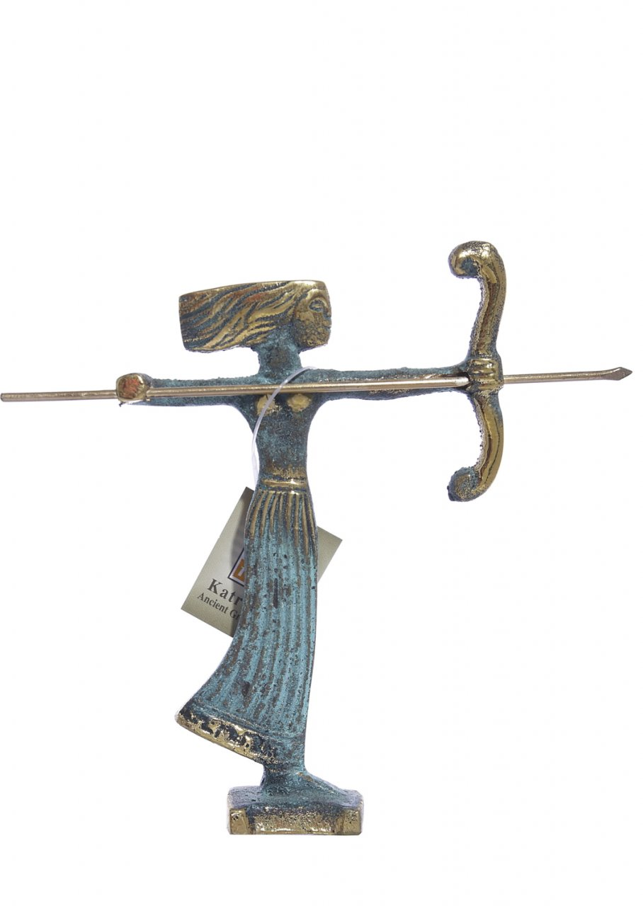 Small bronze statue of Goddess Artemis holding her bow and arrow