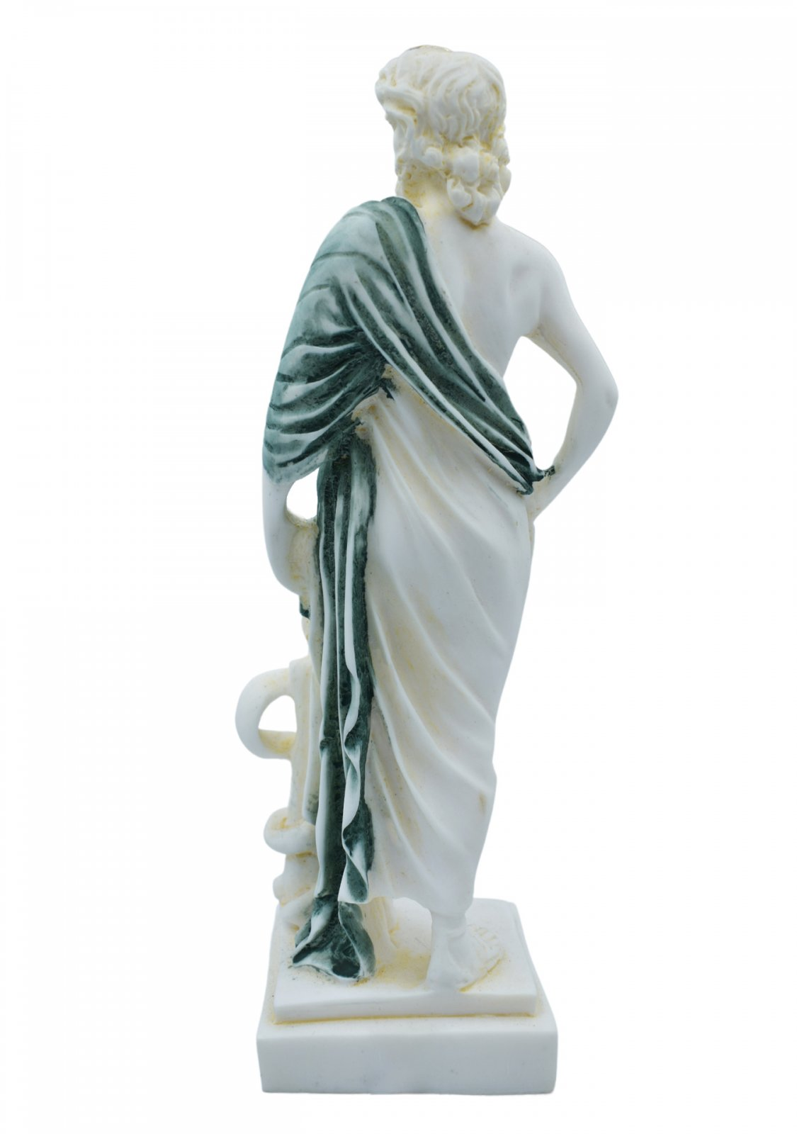 Ascelpius (Asklepios), the greek god of medicine, alabaster statue with green color and patina