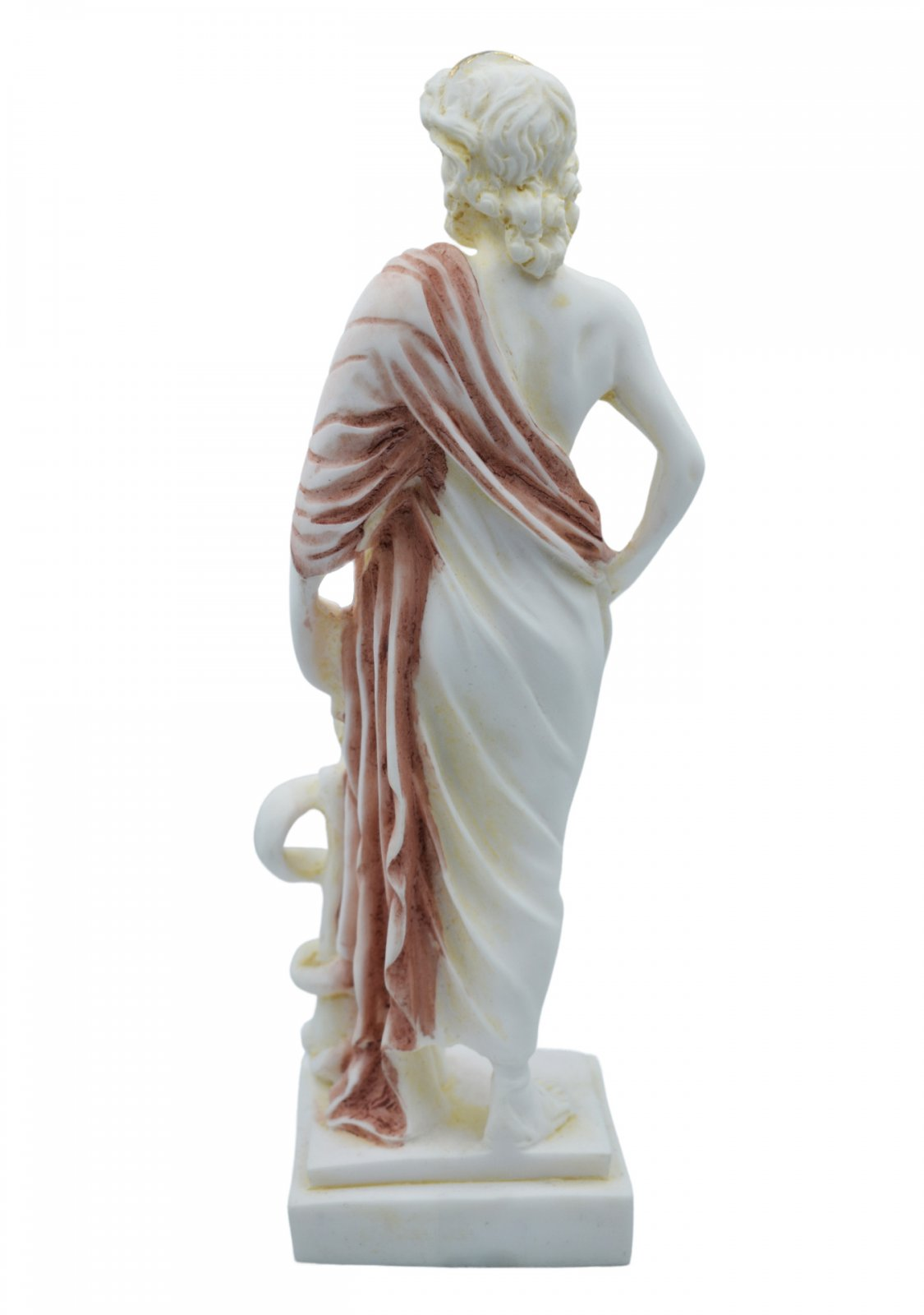 Ascelpius (Asklepios), the greek god of medicine, alabaster statue with color and patina