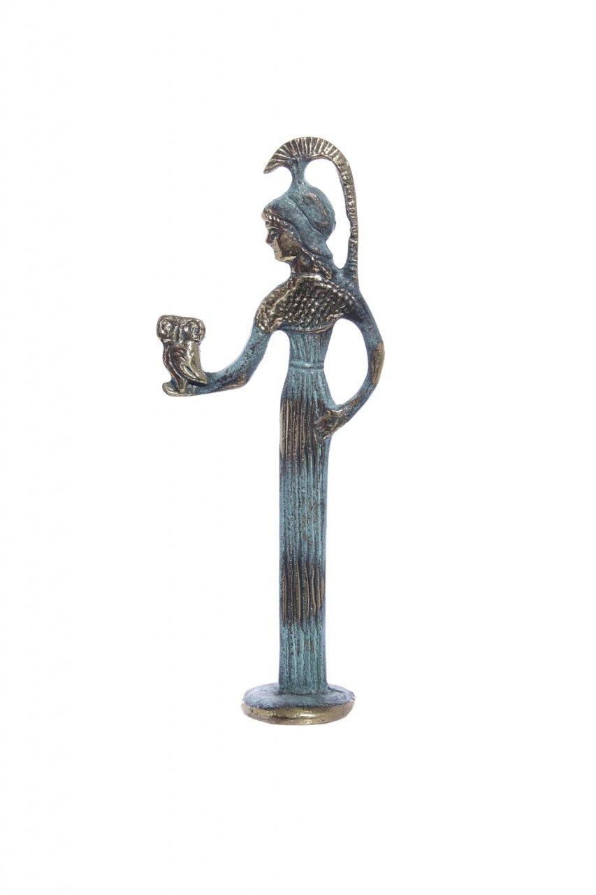 Bronze statue of Goddess Athena holding an owl
