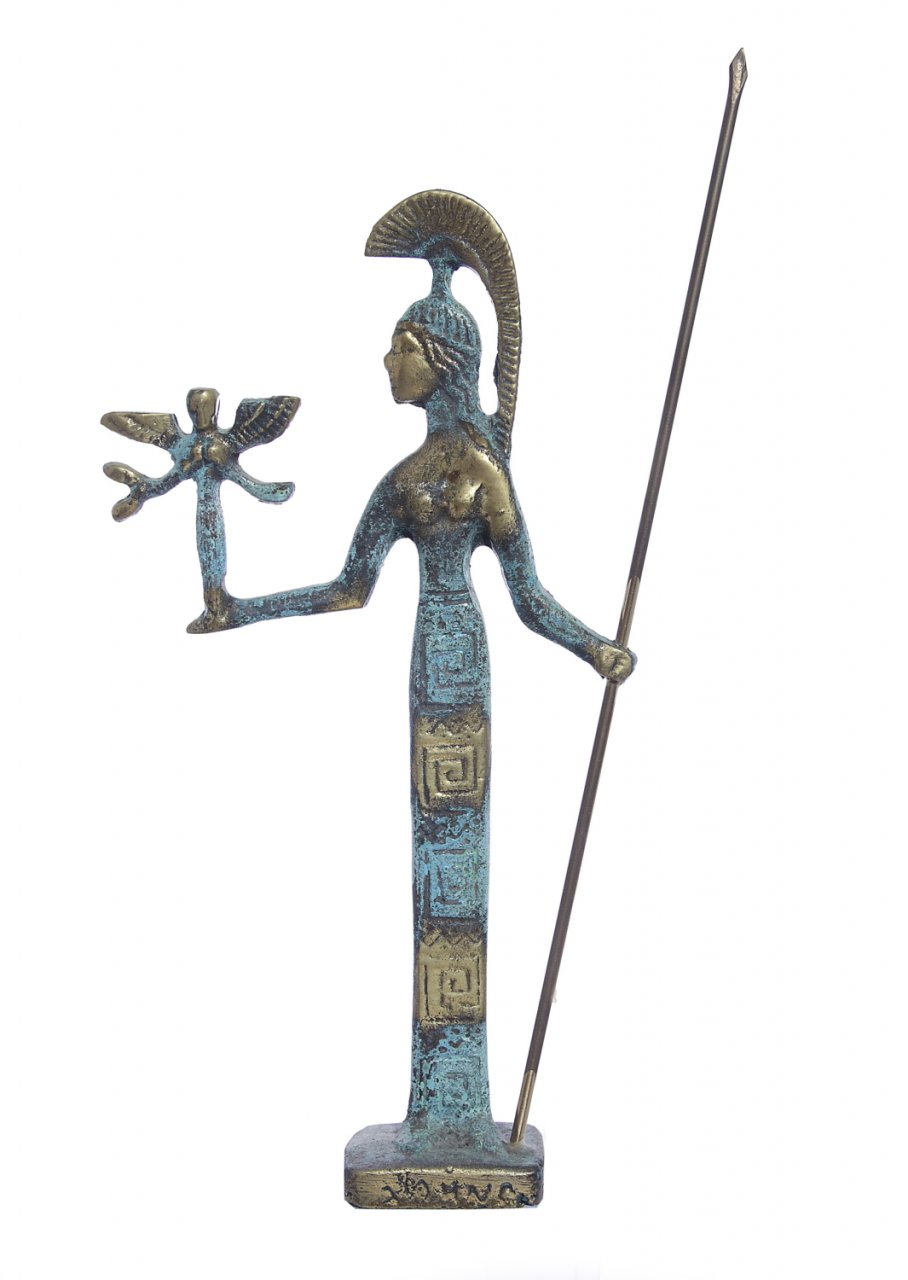 Bronze statue of goddess Athena holding the goddess of victory Nike and a spear