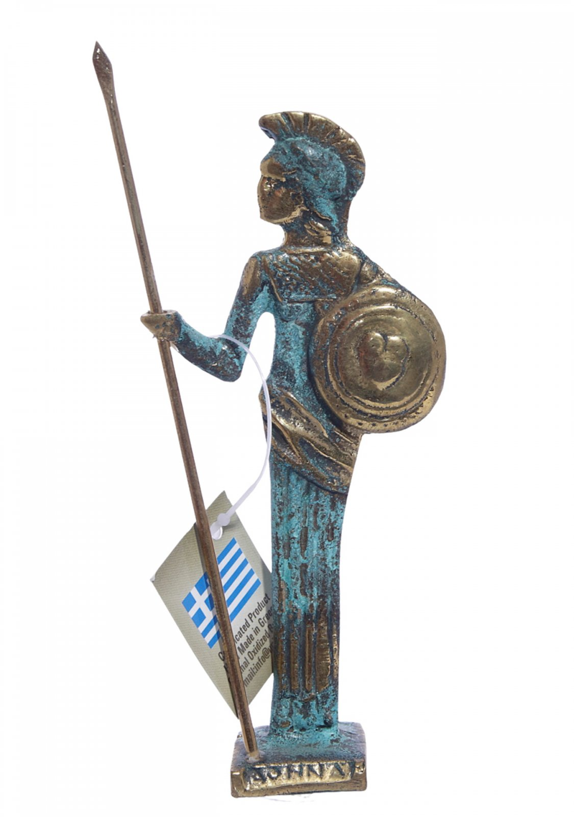 Small bronze statue of Goddess Athena holding her shield and spear