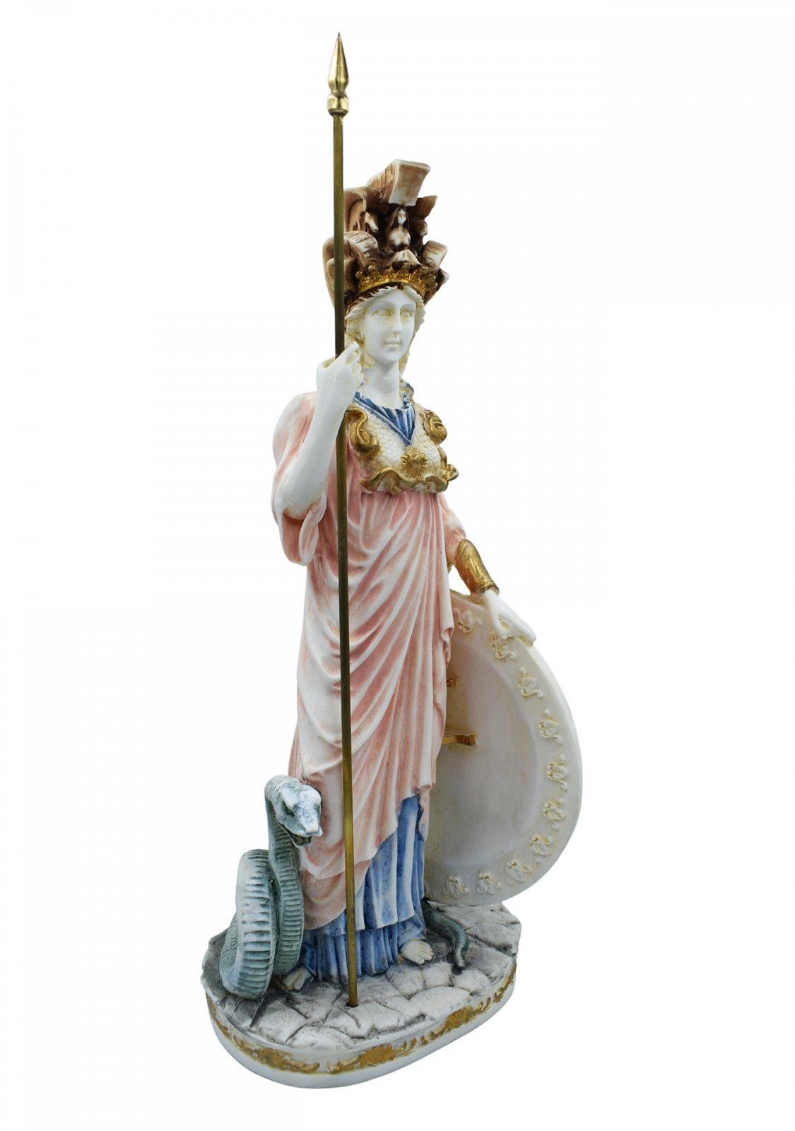 Goddess Athena, large greek alabaster statue with color
