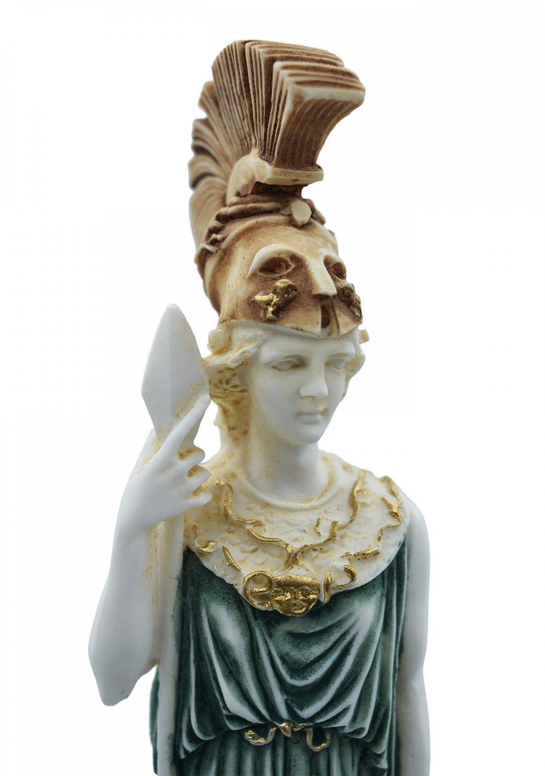 Goddess Athena, greek alabaster statue with color