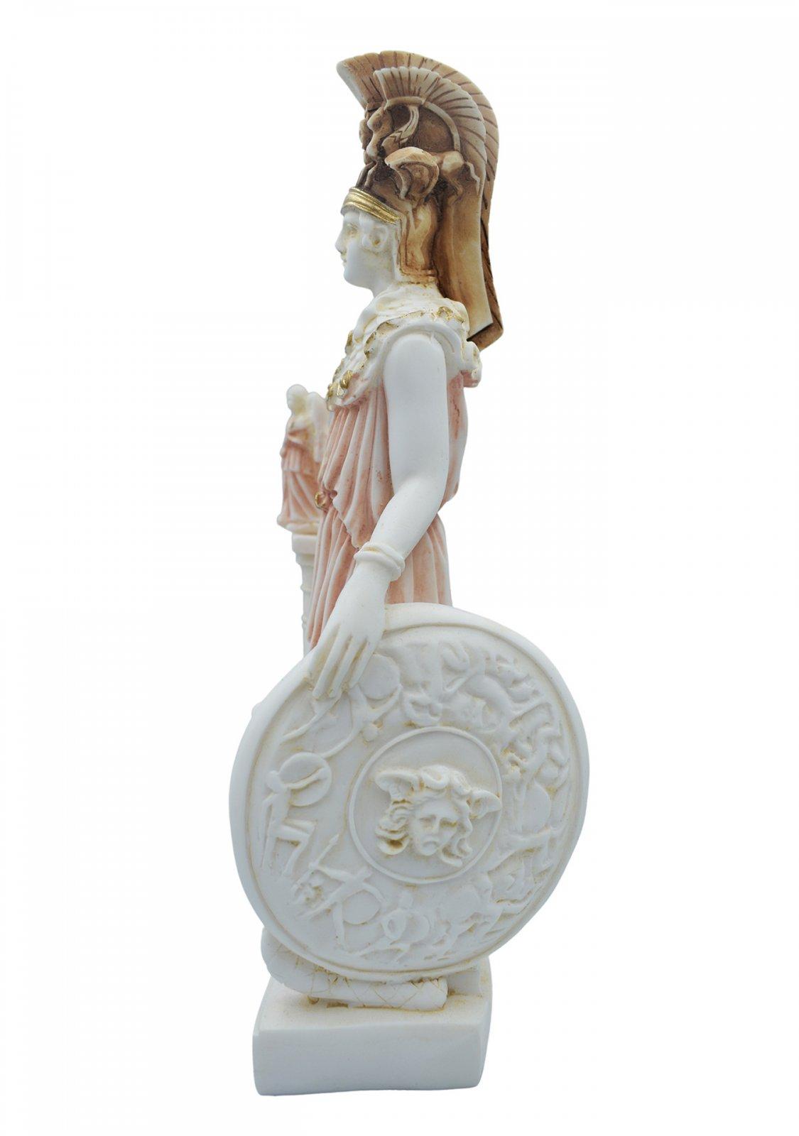 Athena Pallas, Greek goddess of wisdom, alabaster statue with color