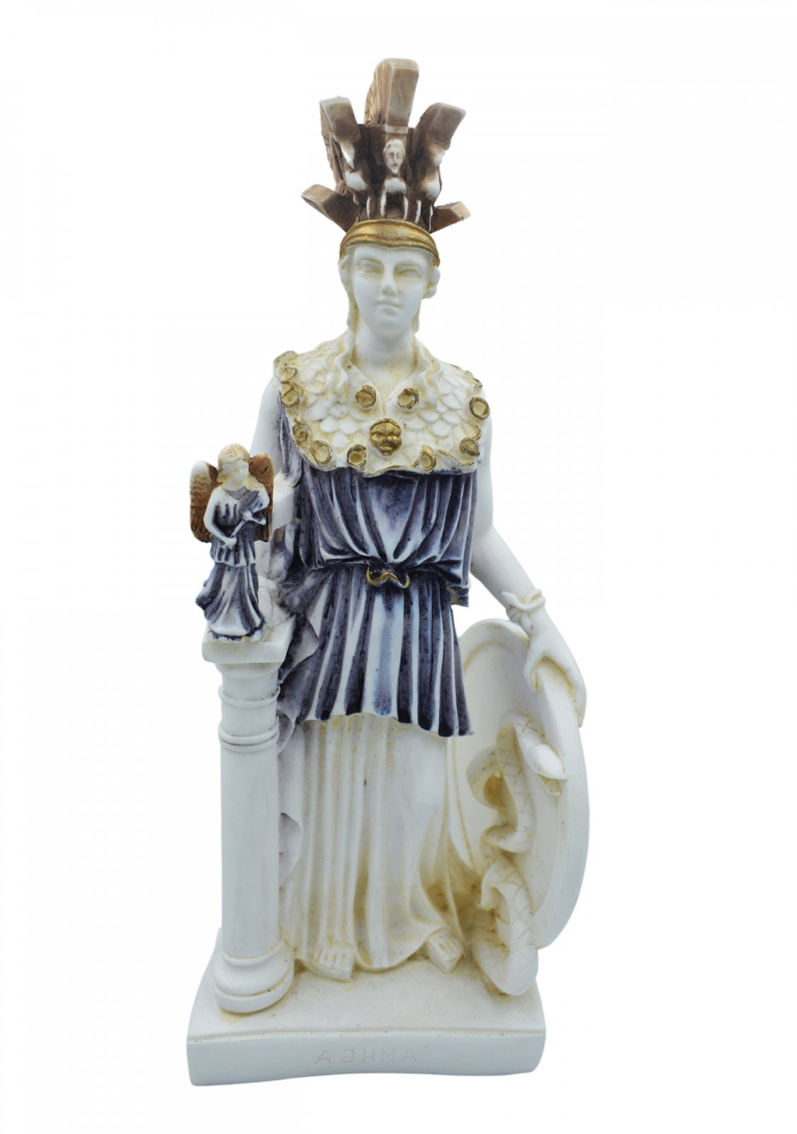 Athena Pallas, Greek goddess of wisdom, alabaster statue with color and patina
