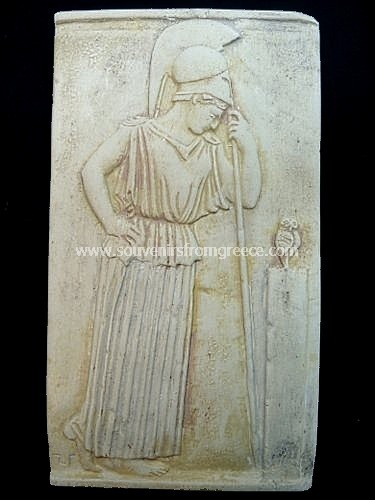 Souvenirs from Greece: Goddess Athena greek plaster relief statue Greek statues Alabaster statues Magnificent greek art souvenirs handmade greek plaster statue relief of the goddess Athena. The plaster sculpture is a replica of the original from 460 BC now in the Acropolis museum of Athens and shows Athena leaning on her spear. This is one of the most famous greek works of art.