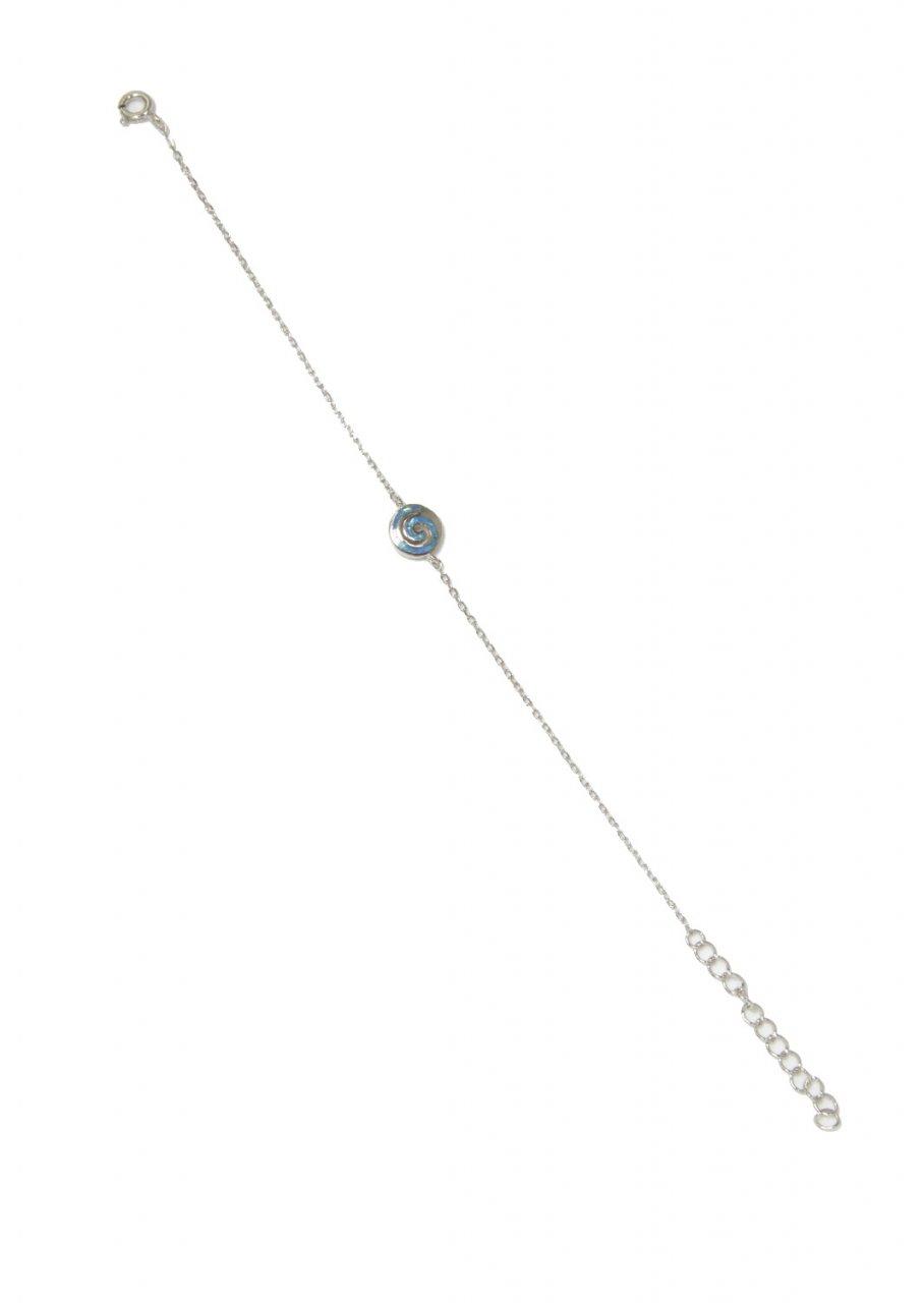 Greek spiral silver bracelet with opal