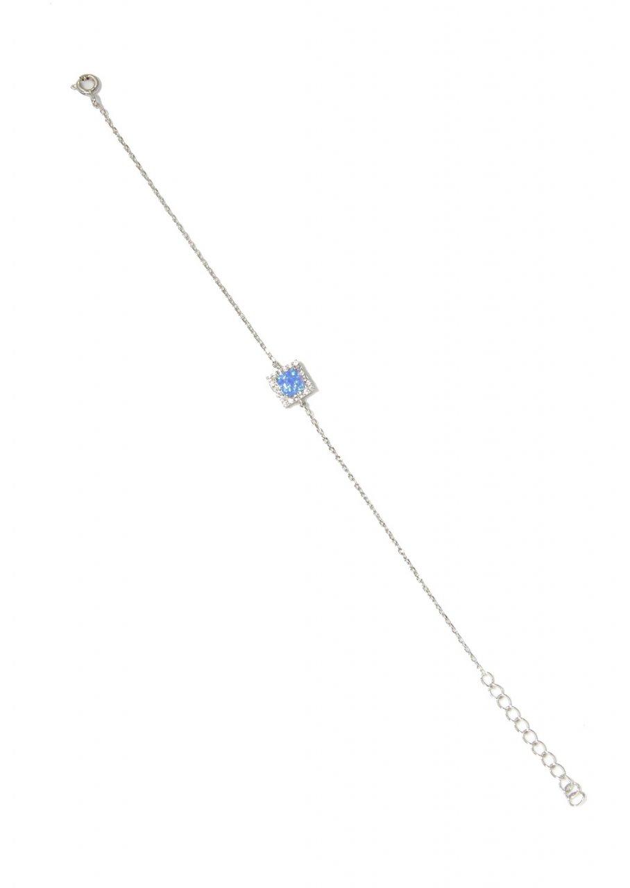 Opal and zircon gemstones greek silver bracelet