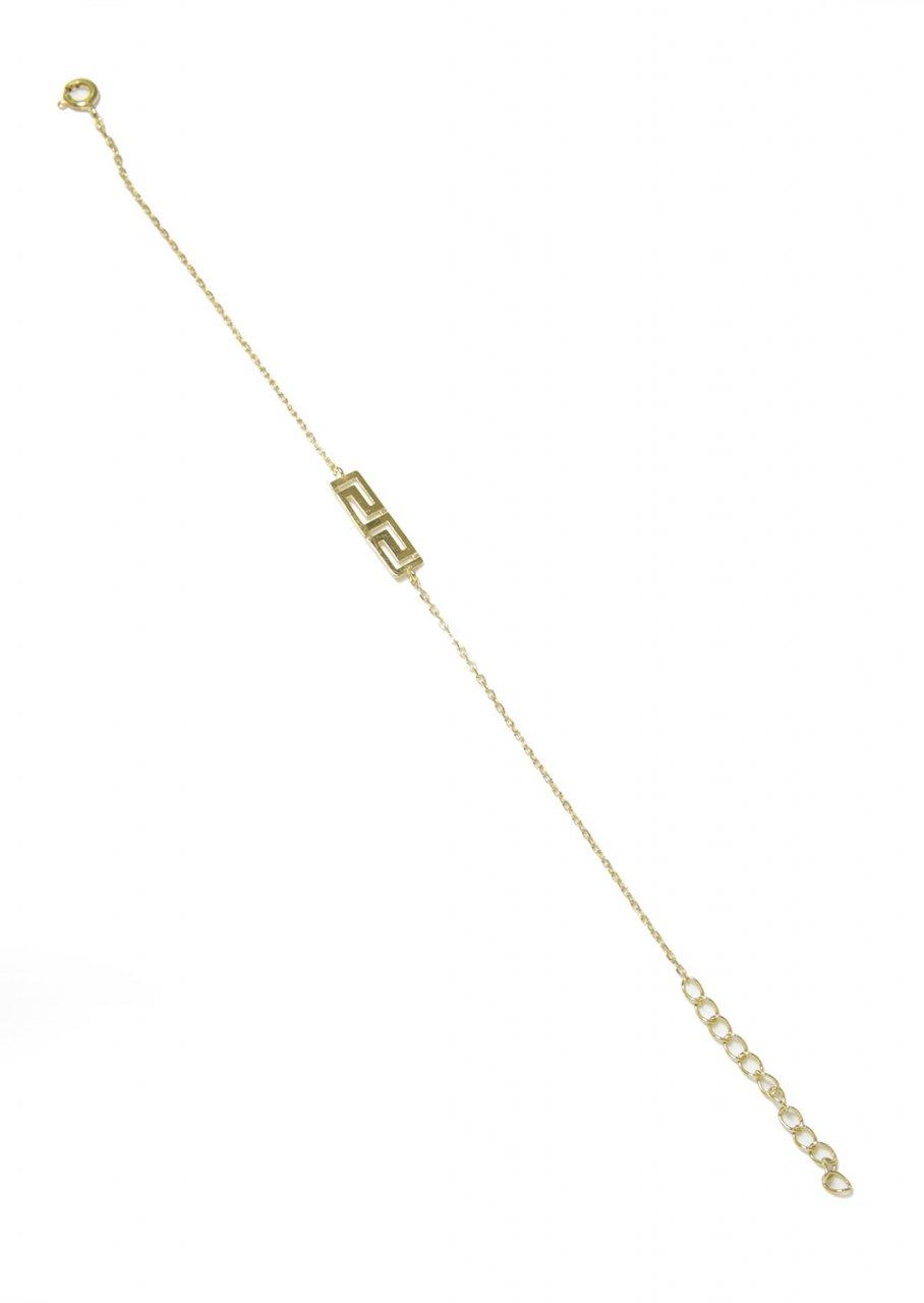 The greek key design - meander gold plated silver bracelet