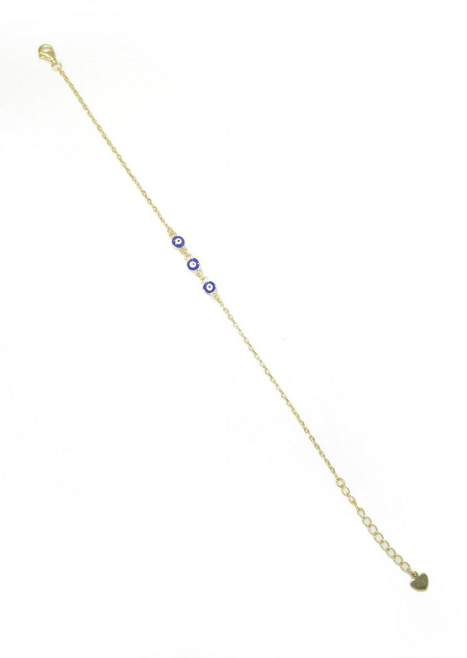 Three blue evil eyes greek gold plated silver bracelet