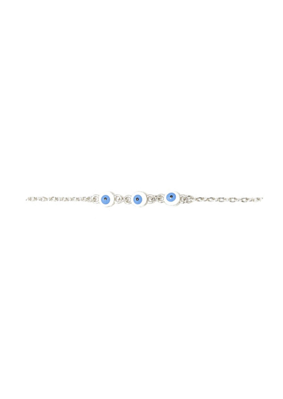 Three white evil eyes greek silver bracelet
