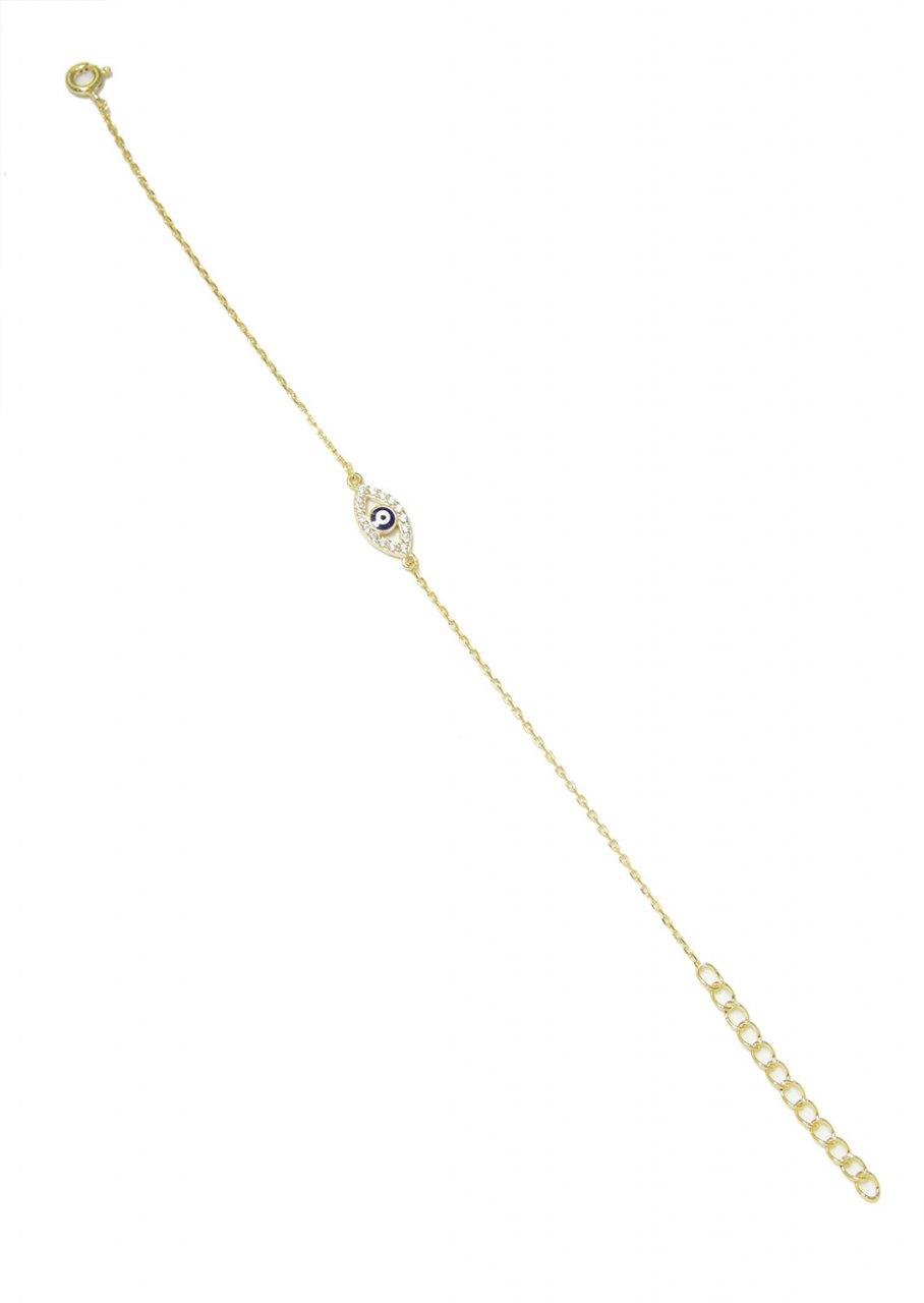 Greek evil eye gold plated silver bracelet with zircon