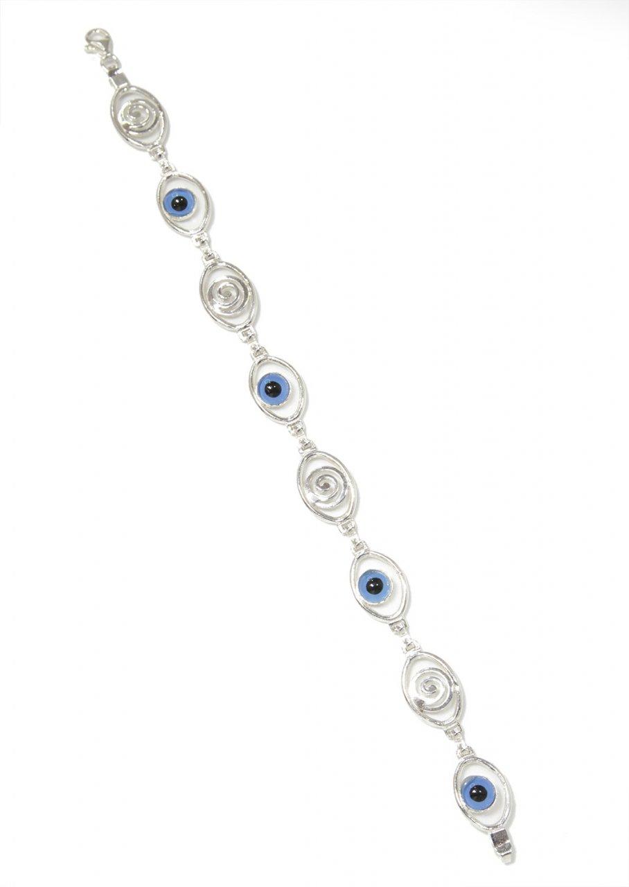 Spirals and evil eyes greek silver bracelet