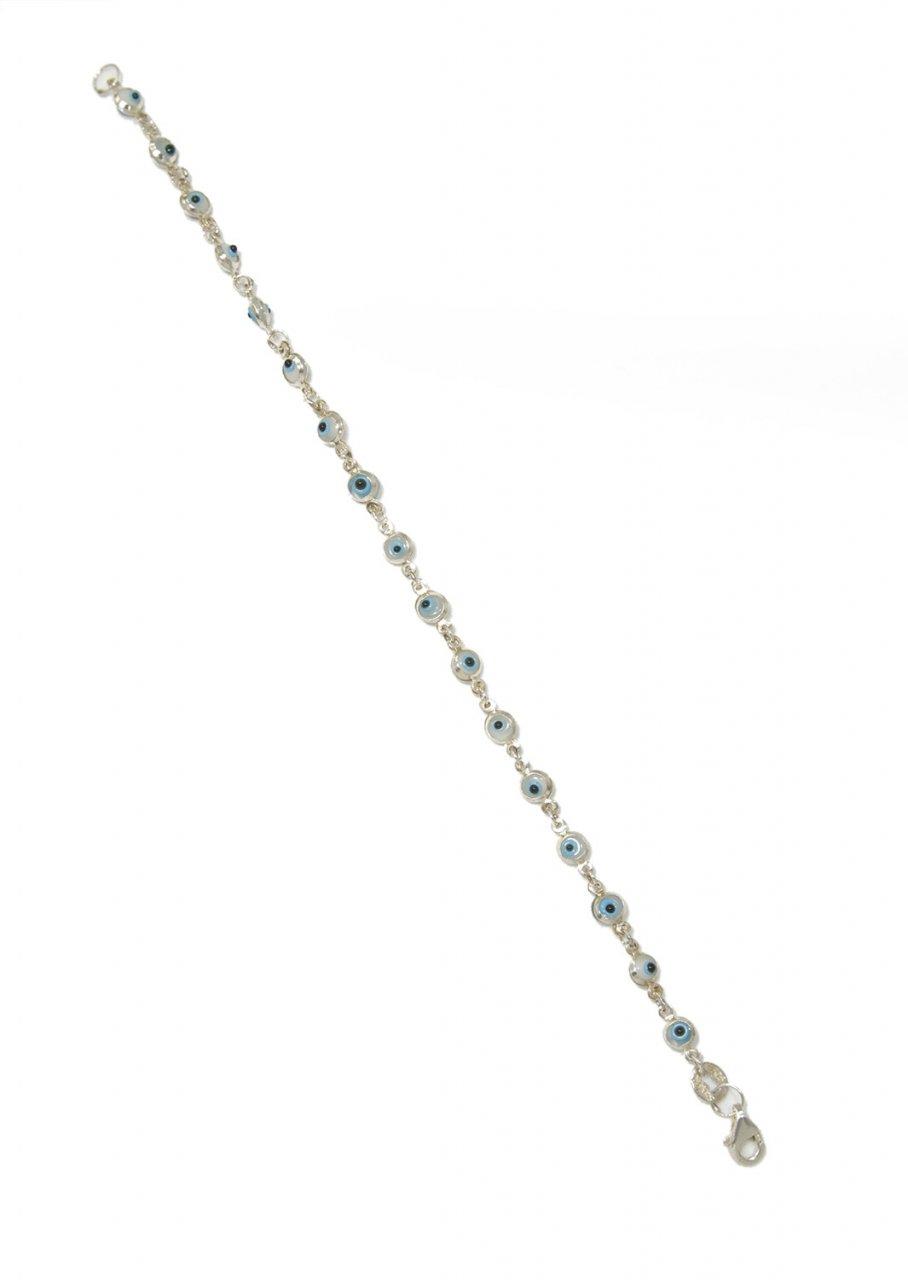 Small white evil eyes greek silver bracelet