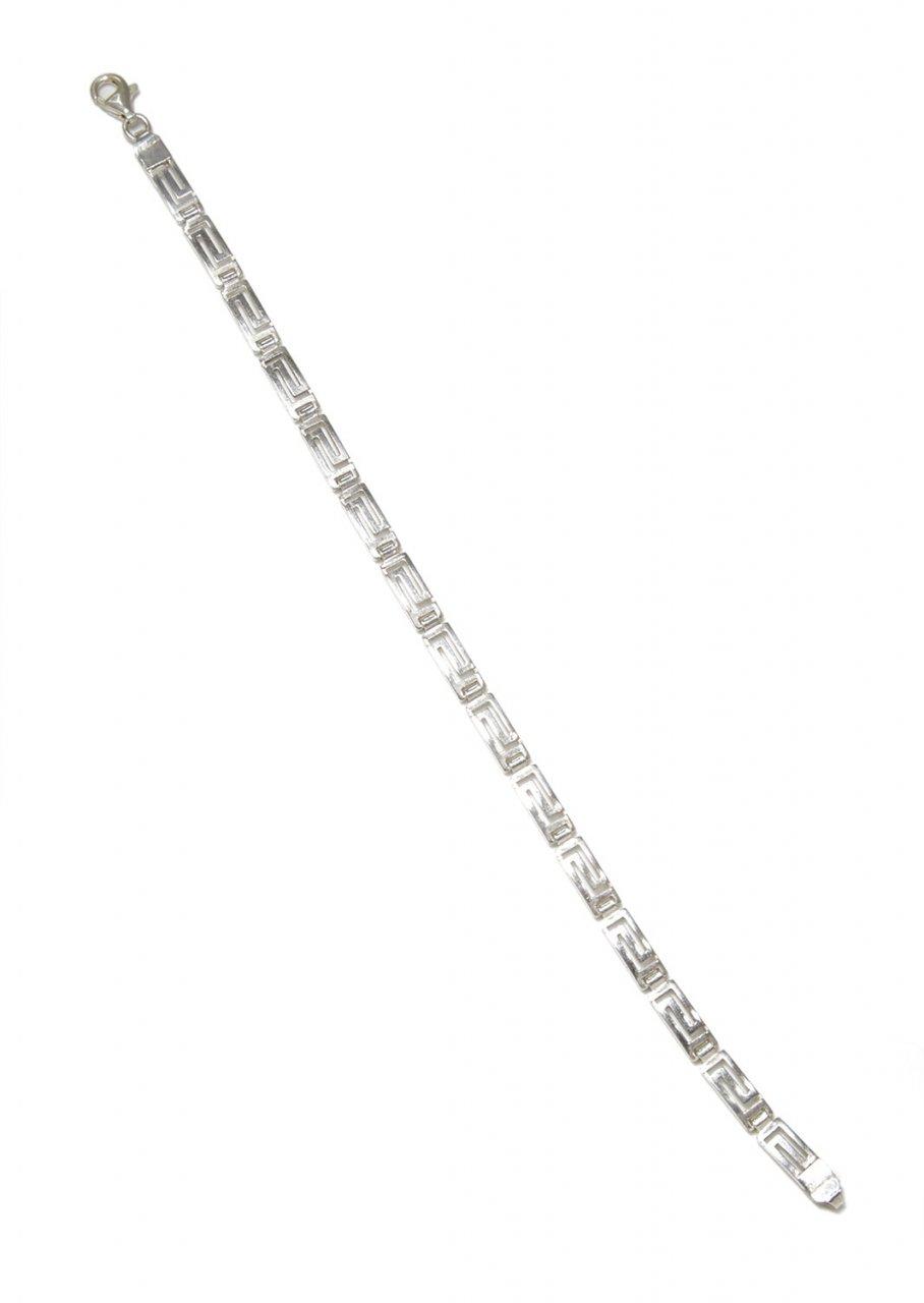 Large greek key design - meander silver bracelet