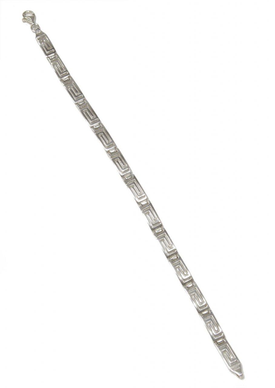 Greek key design - meander long silver bracelet