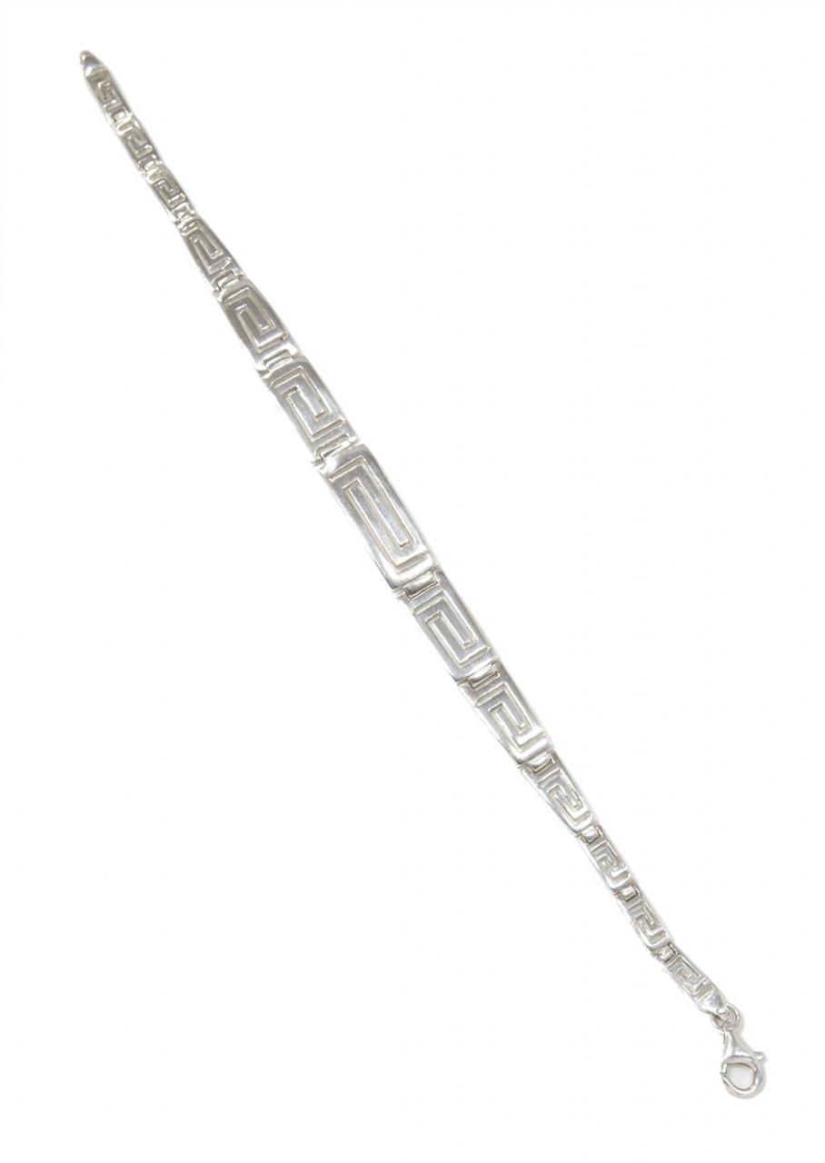 Large greek key design silver bracelet