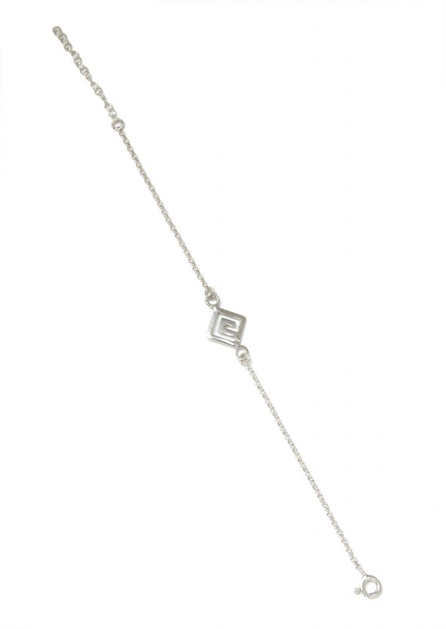 Silver bracelet with the greek key design - meander