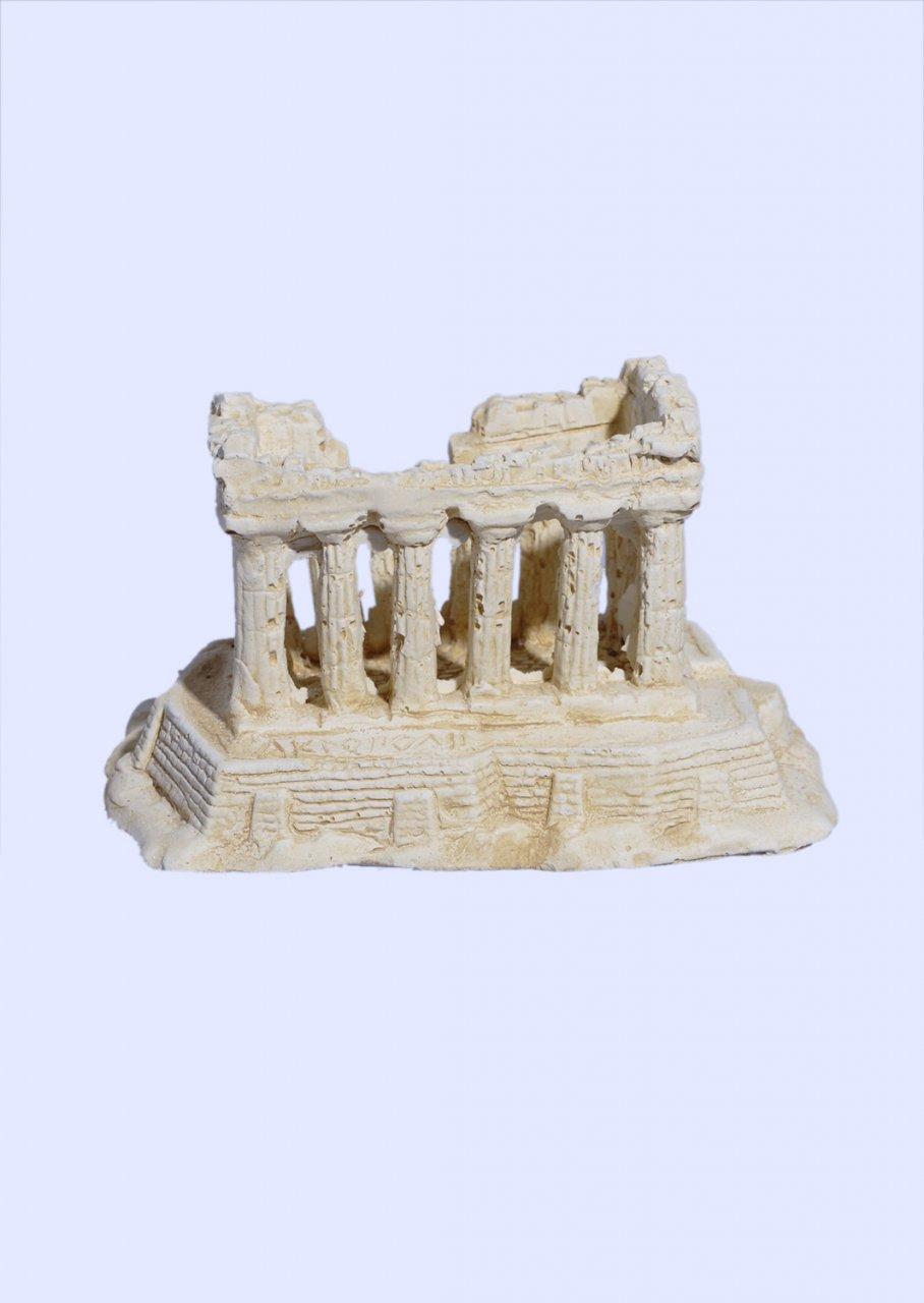 Parthenon on Acropolis rock small plaster statue
