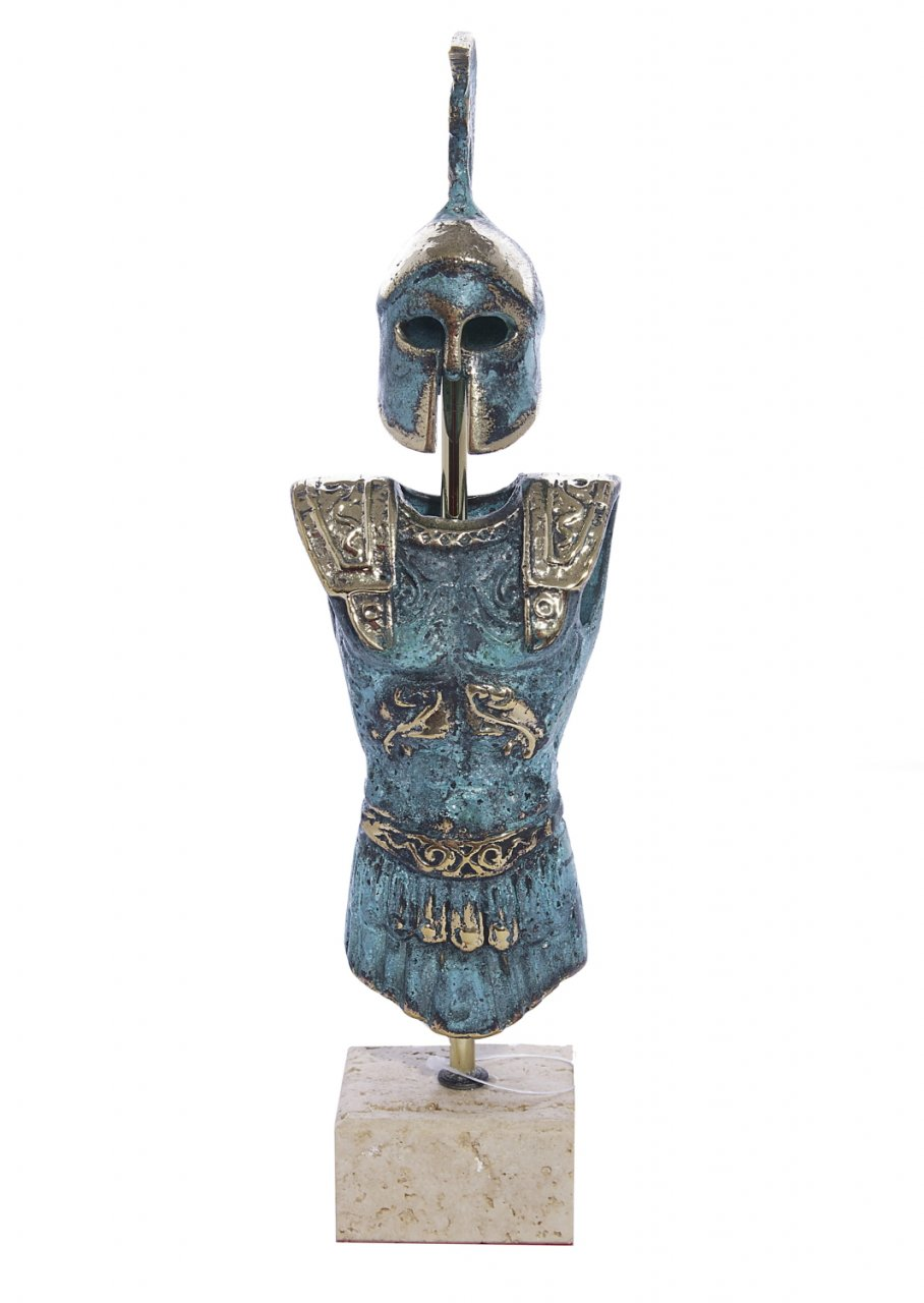 Bronze armour of King Leonidas on marble base