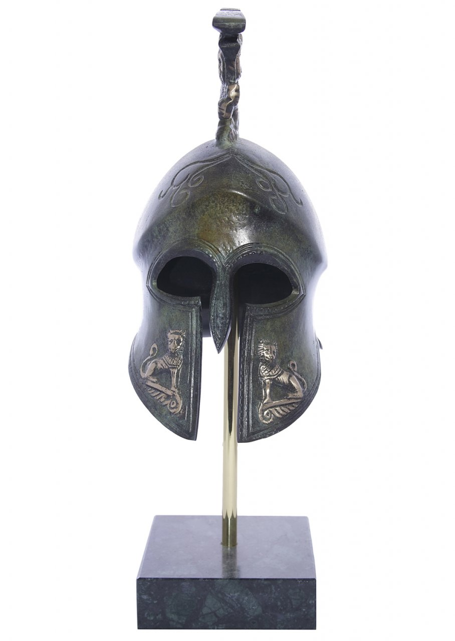 Spartan helmet with engraved golden lions greek bronze statue on marble base