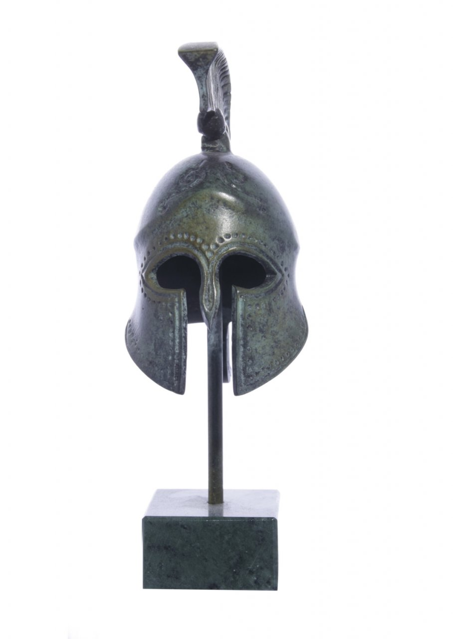 Greek bronze statue of a Spartan helmet on marble base
