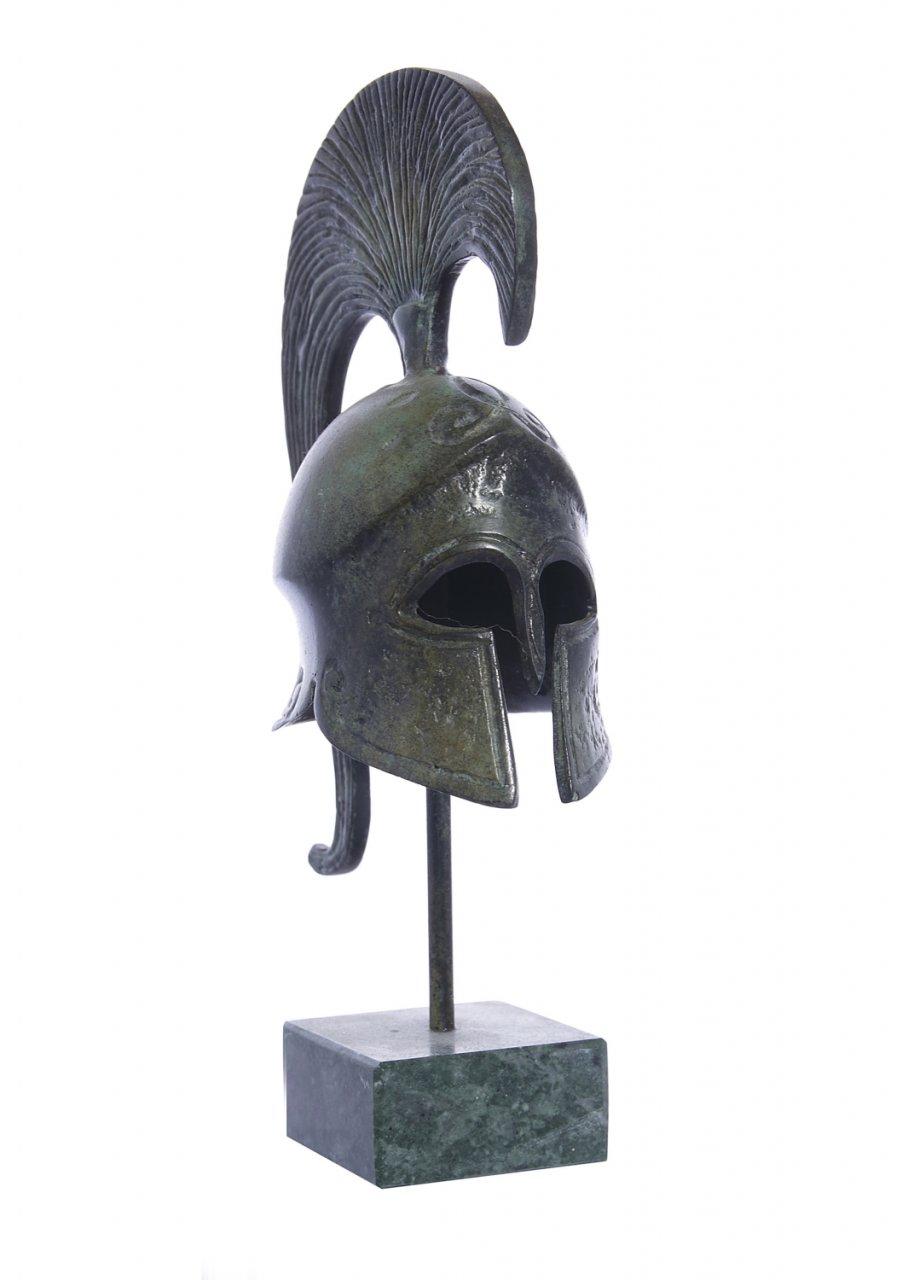 Achilles helmet greek bronze statue on marble base